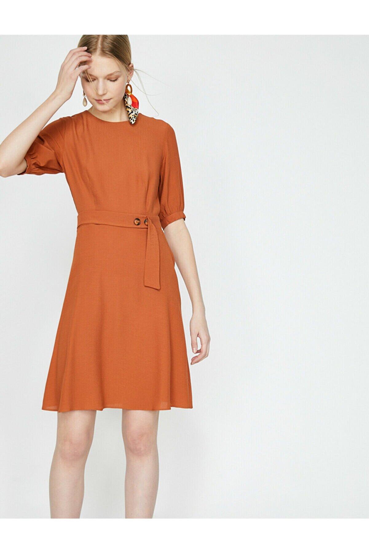 Koton Kadın Kahve Düğme Detaylı Elbise 9YAK82444UW