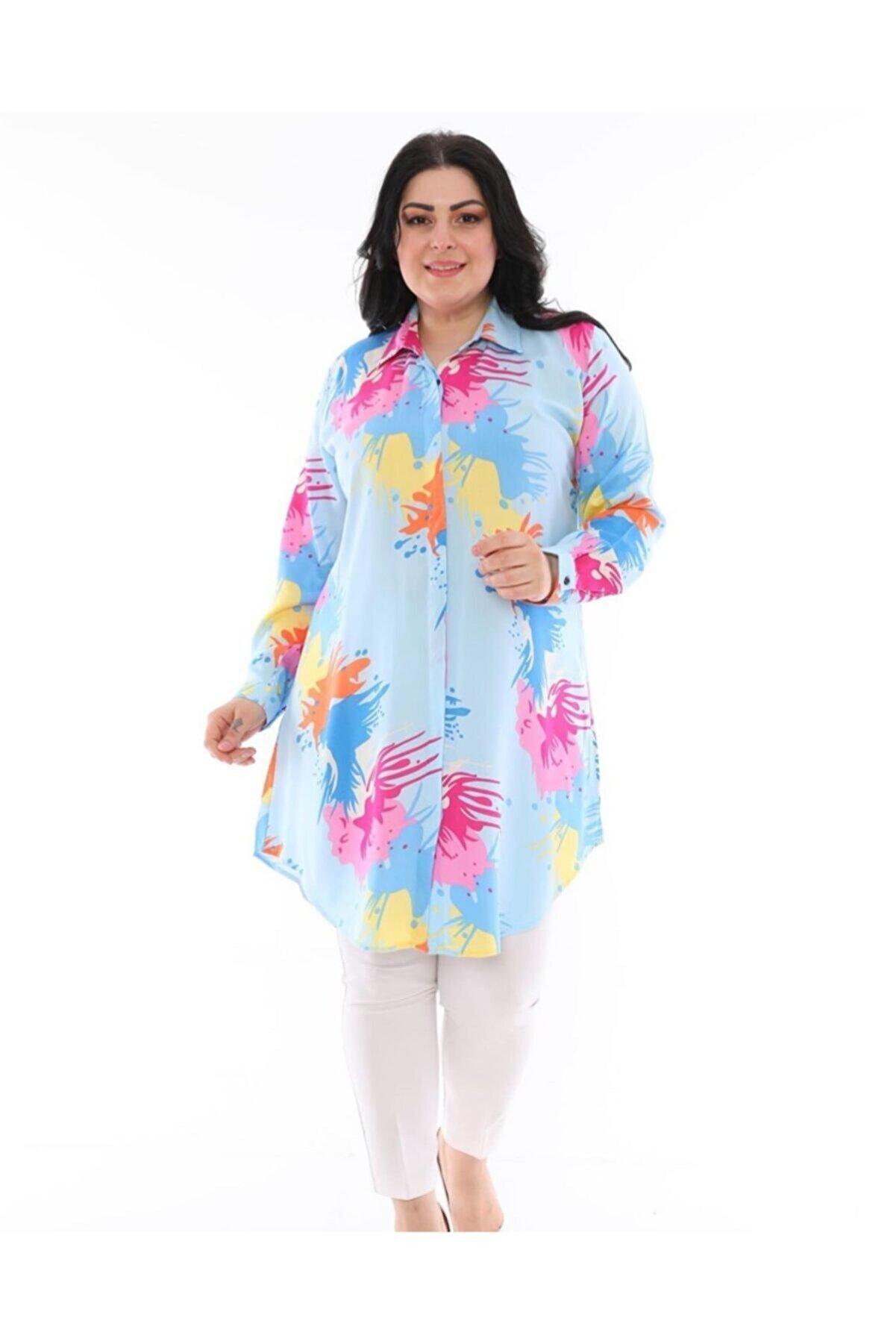 LBB FASHİON Kadın Turkuaz Tunik Gömlek
