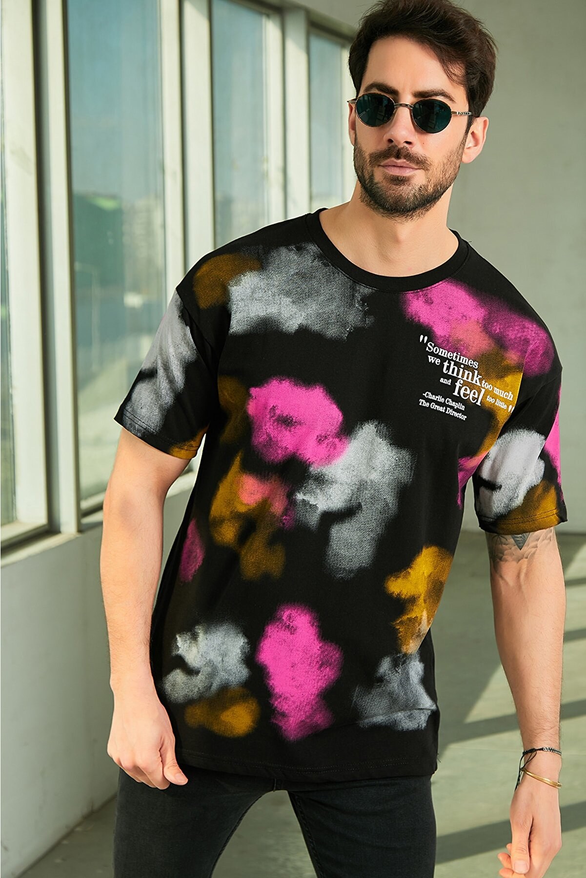 Sateen Men Erkek Siyah Baskılı T-Shirt