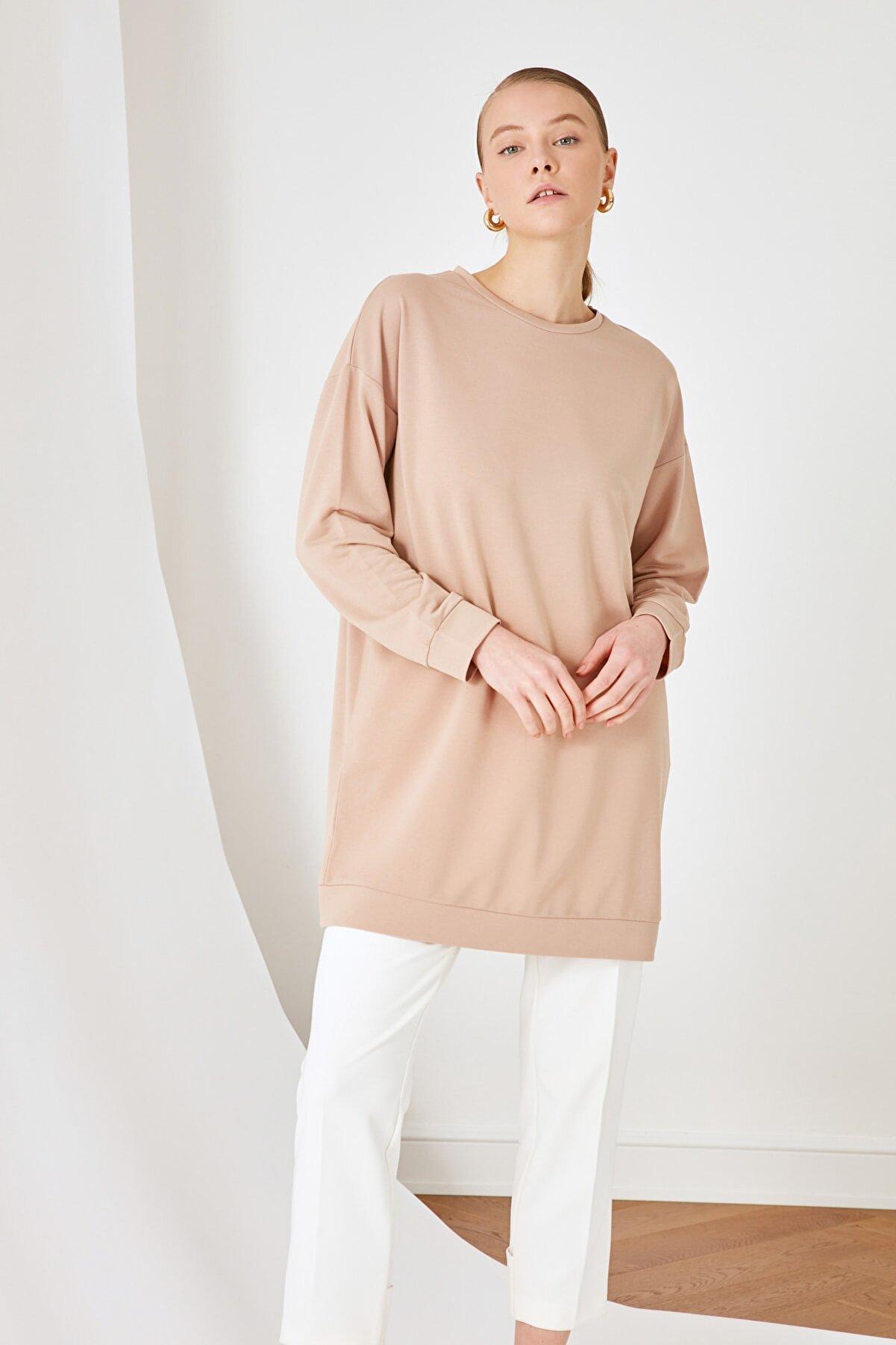 Trendyol Modest Bej Örme Tesettür Sweatshirt TCTSS21SW0402