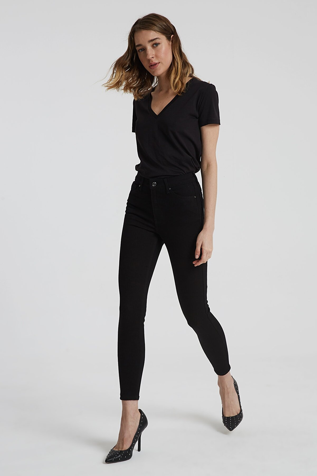 CROSS JEANS Judy Siyah Yüksek Bel Skinny Fit Jean Pantolon
