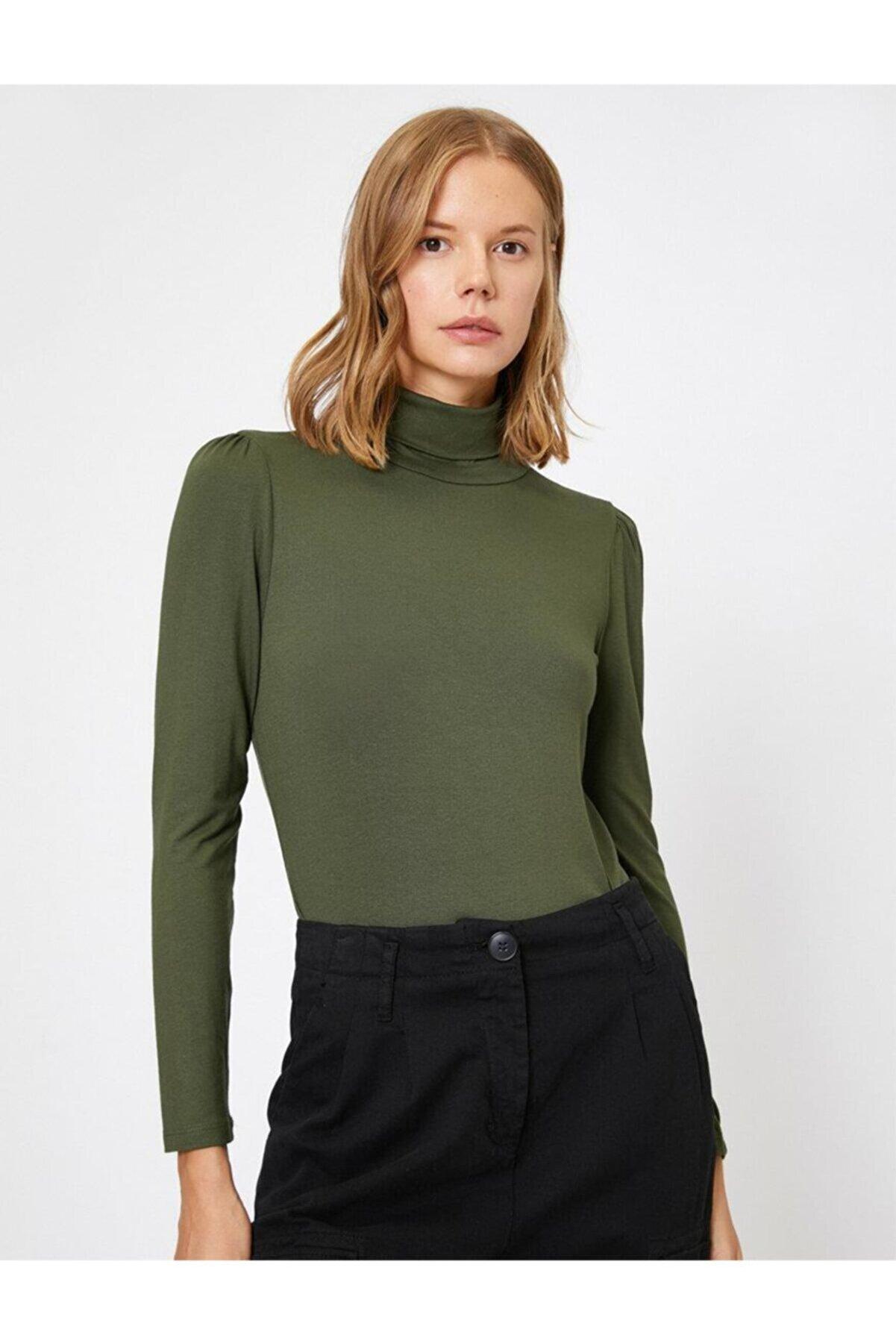 Koton Kadın Yüksek Yaka T-shirt