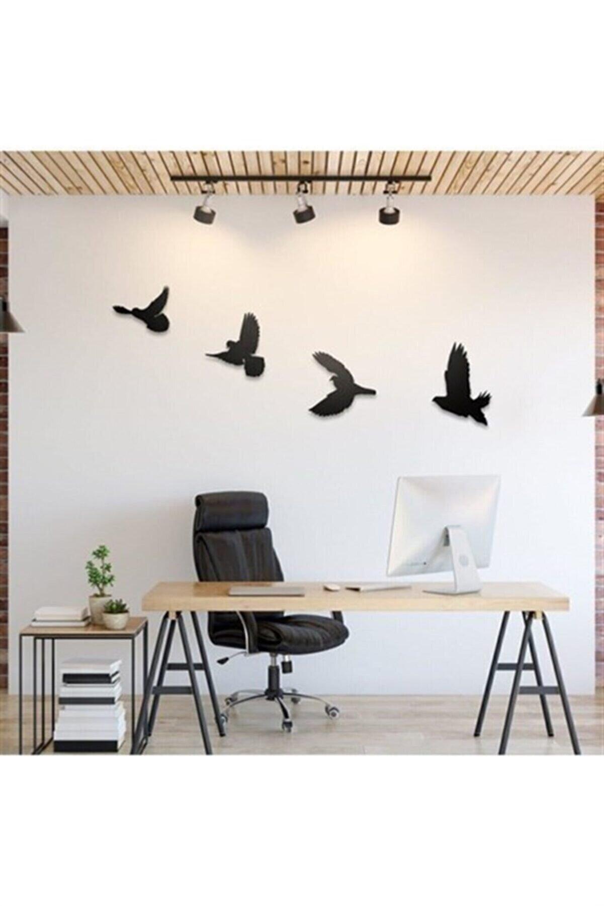 İkbal market Dekoratif Modern Dörtlü Kuş Duvar Süsü Duvar Dekoru Ahşap