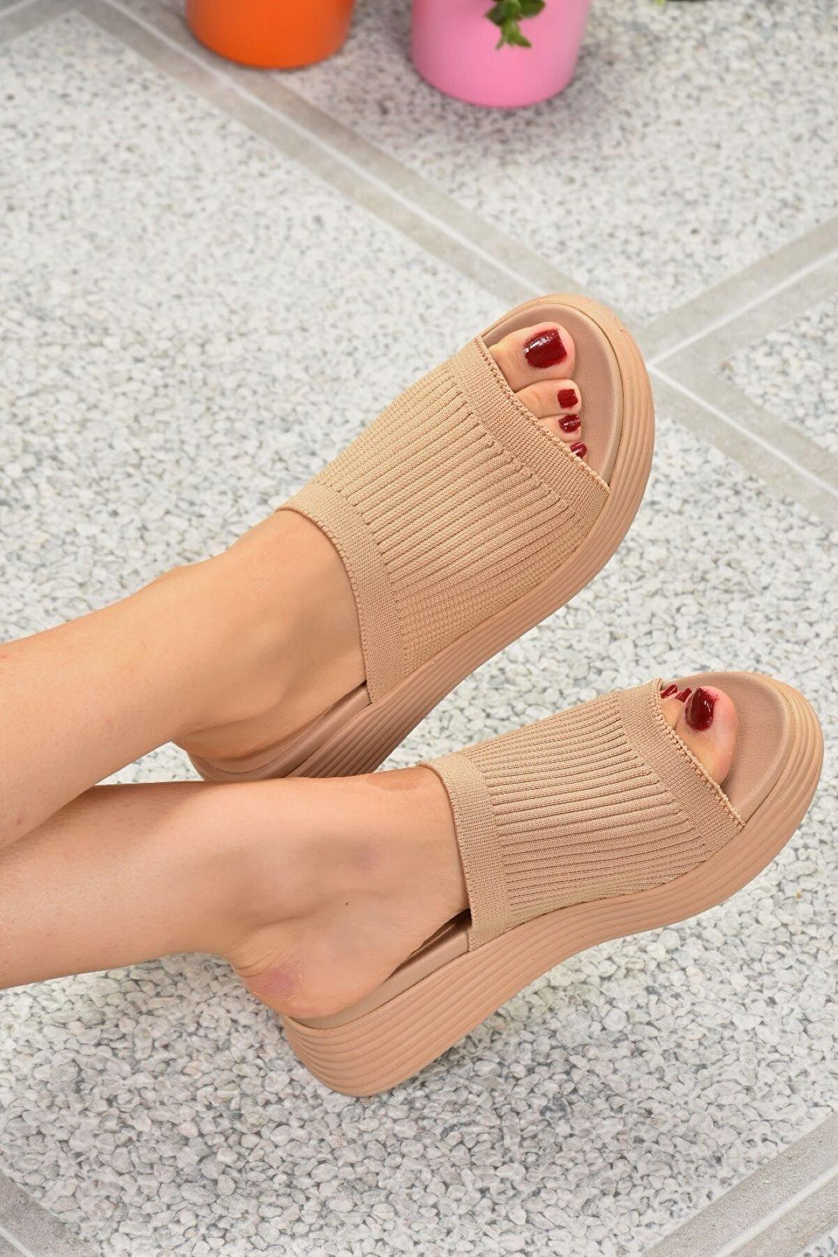Fox Shoes Kadın Ten Triko Kumaş Terlik K610002604