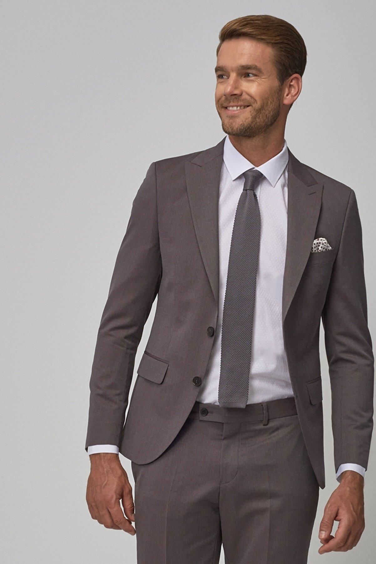 Altınyıldız Classics ERKEK Bordo-Gri Ekstra Slim Fit Dar Kesim Desenli Bordo-Gri Su Geçirmez Nano Takım Elbise