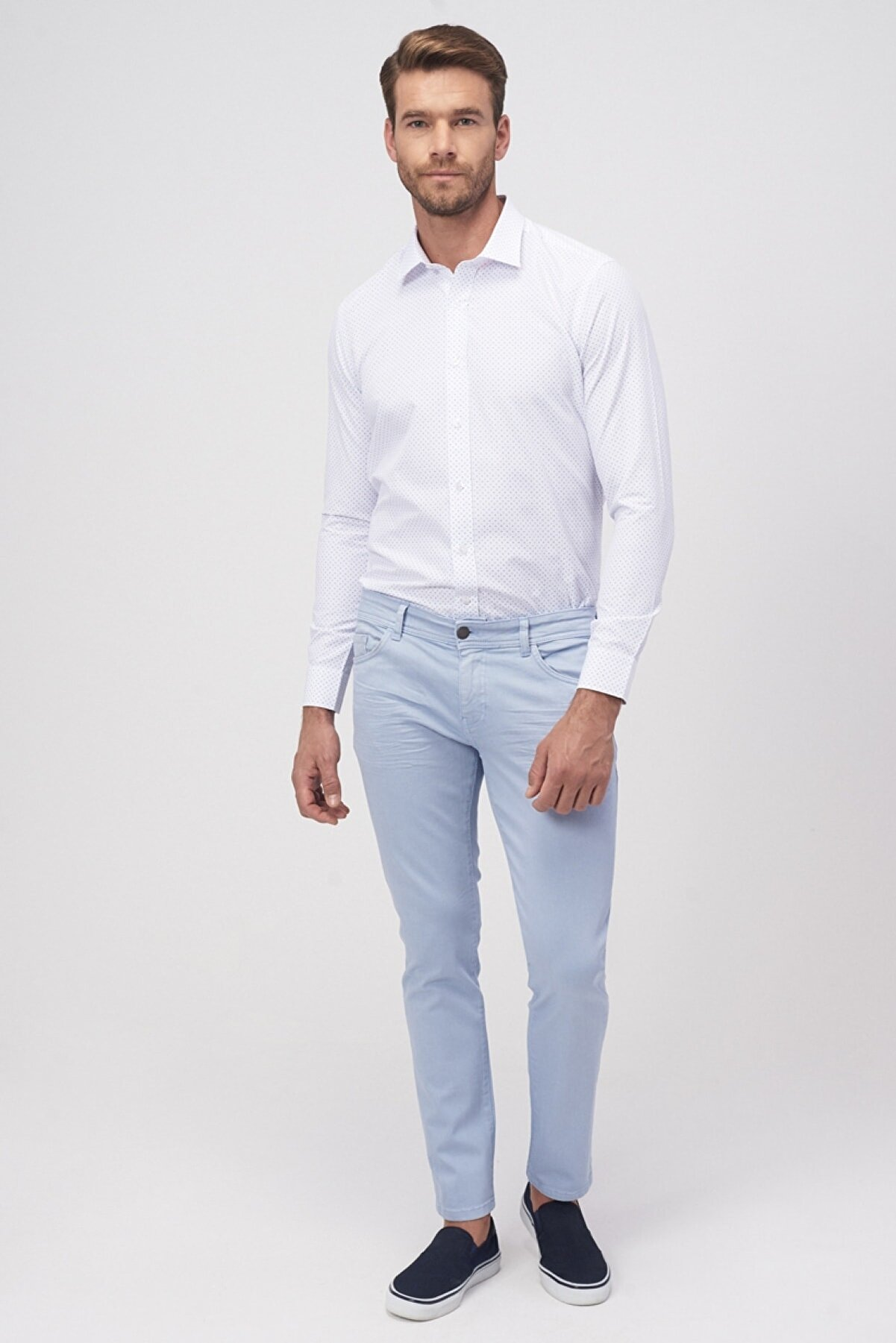 Altınyıldız Classics Erkek Mavi 360 Derece Her Yöne Esneyen Rahat Slim Fit Pantolon