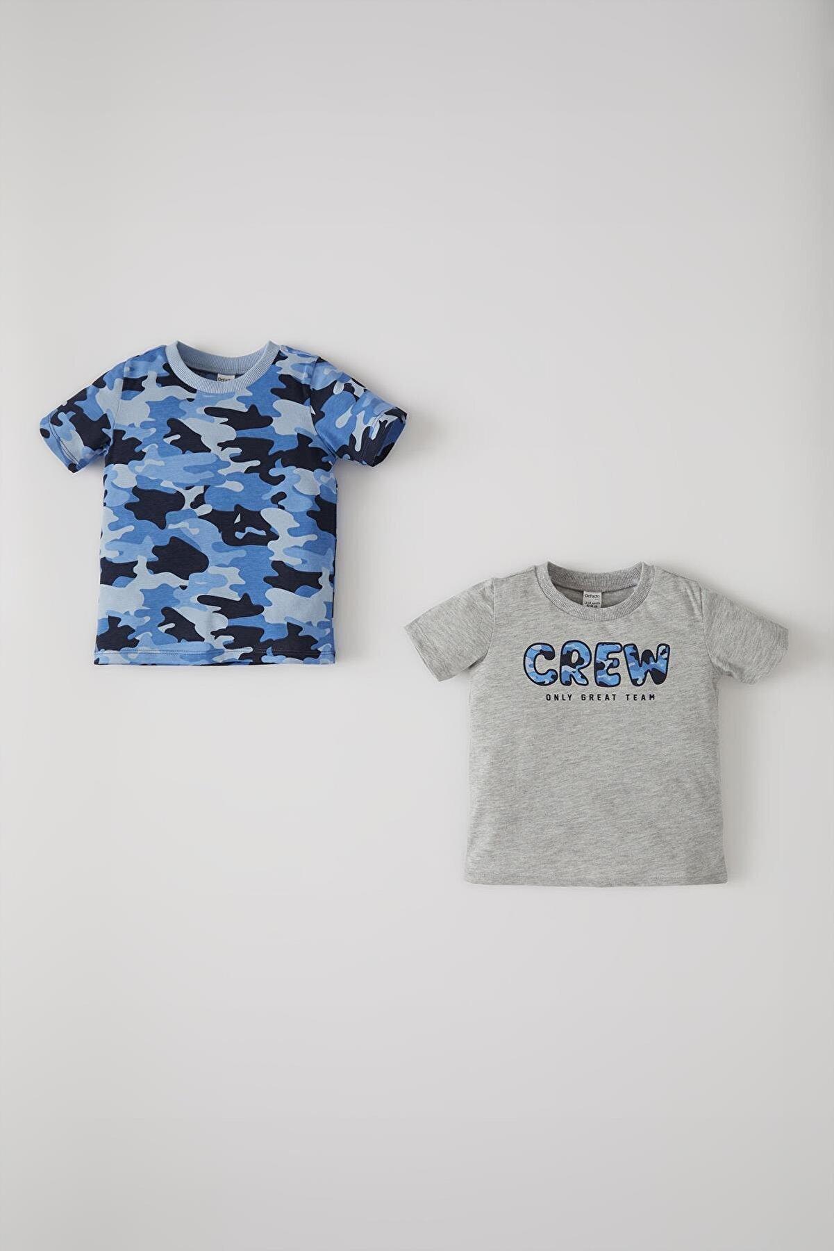 Defacto Erkek Bebek Kamuflaj Desenli 2'li Kısa Kol Tişört