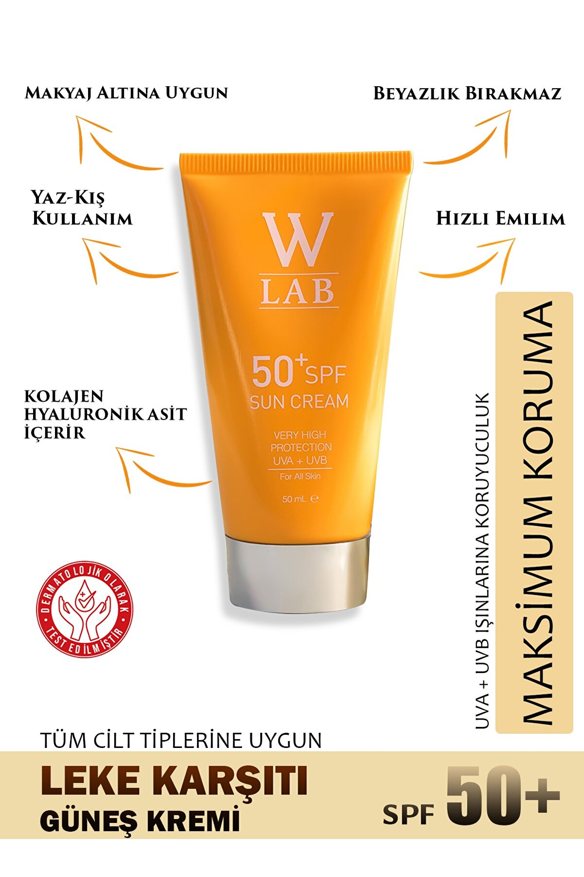 W-Lab Kozmetik W-Lab Sun Cream 50+ SPF (Güneş Koruyucu)