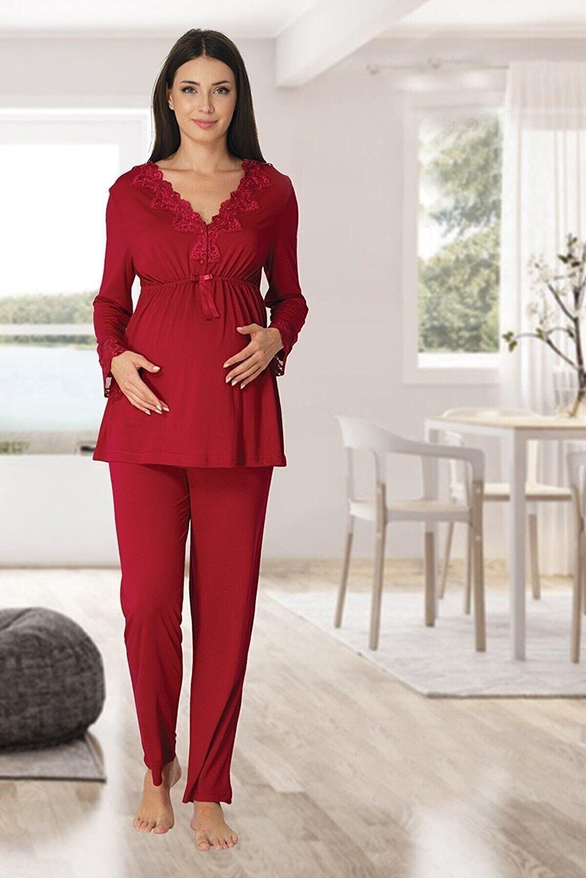 Effort Pijama Kadın Kırmızı Dantel Süslemeli Lohusa Pijama Takımı