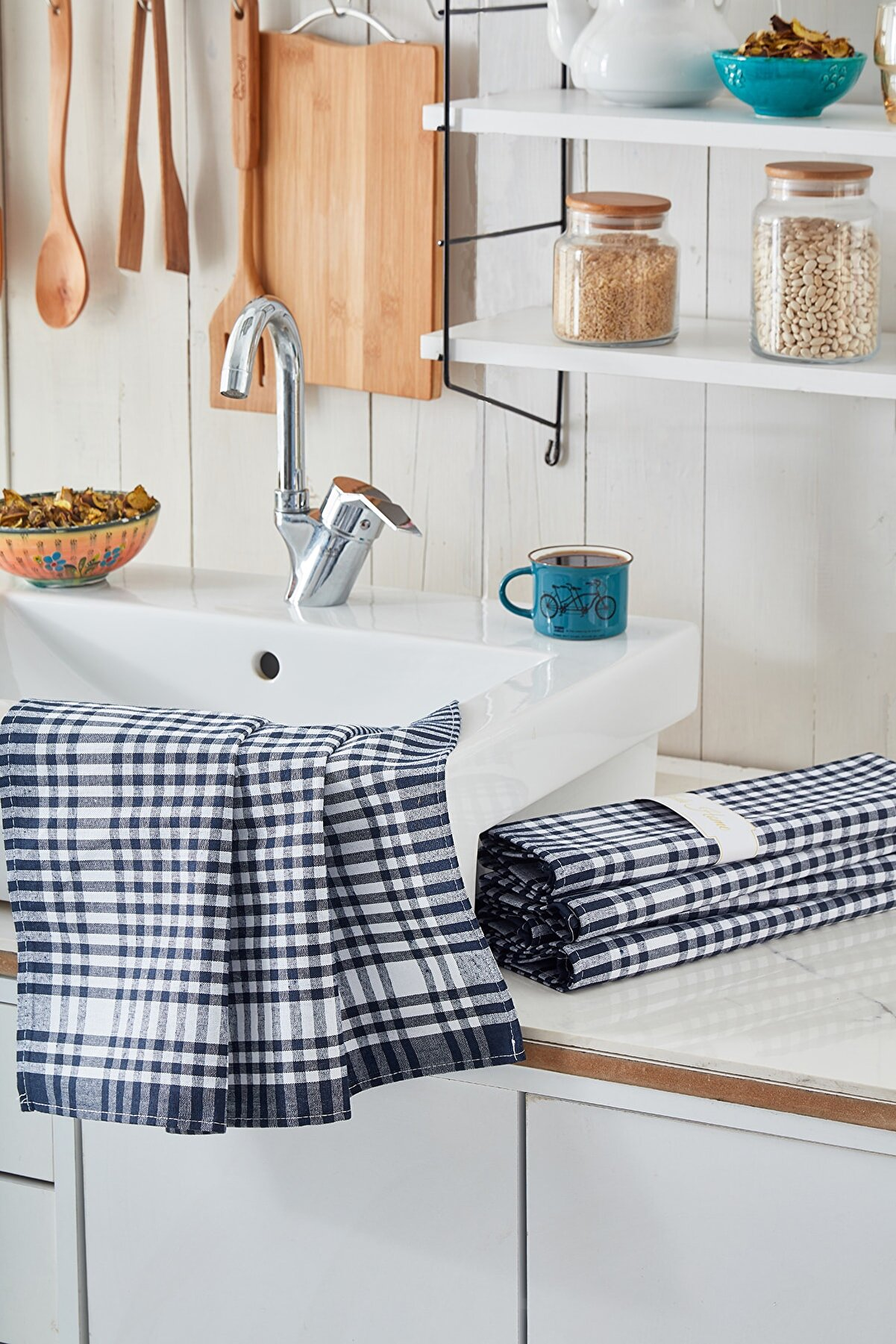 LindaShances 4'lü Mutfak Peçetesi Seti Koyu Mavi Renk Pöti Kareli Desen