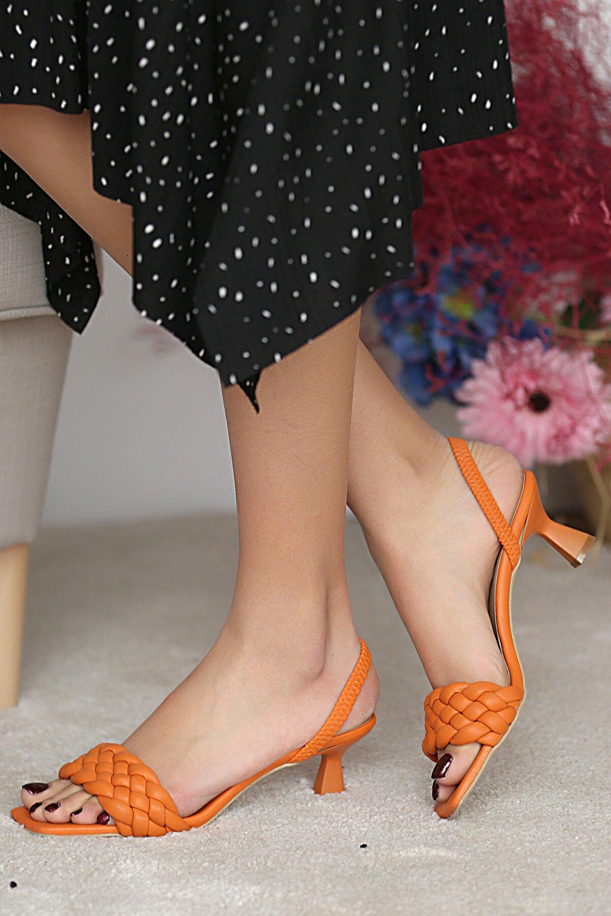 Pembe Potin Kadın Orange Klasik Topuk