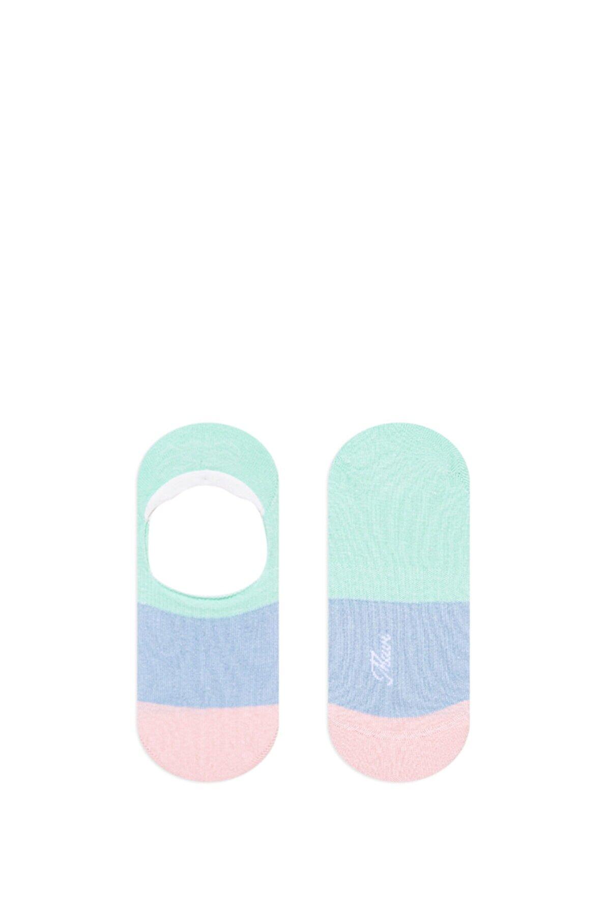 Mavi Kadın Renkli Blok Babet Çorabı