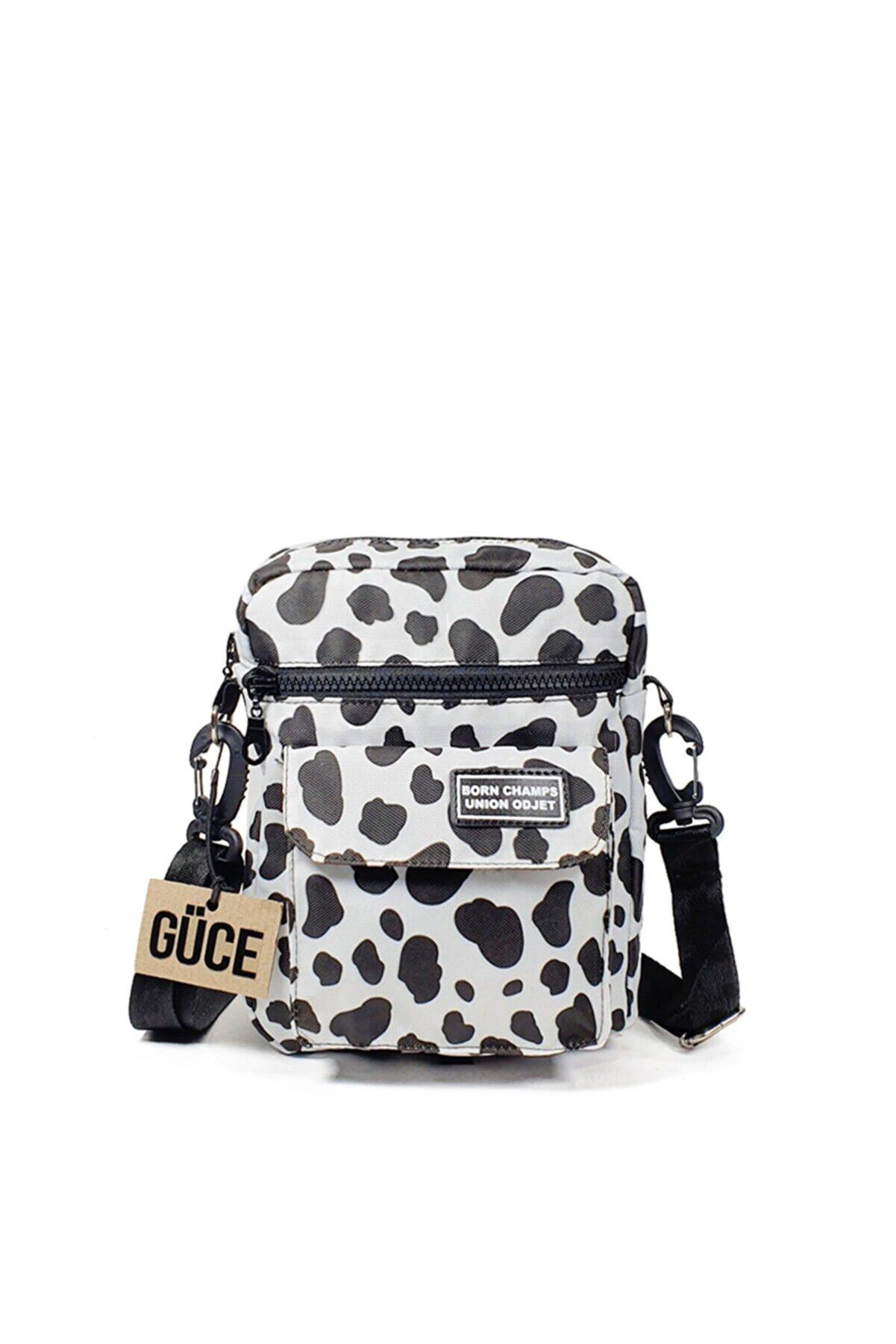 Güce Siyah Beyaz Inekli Desenli Born Champs Yazılı Çok Gözlü Cross Bag Omuz Çantası Gc0140inek