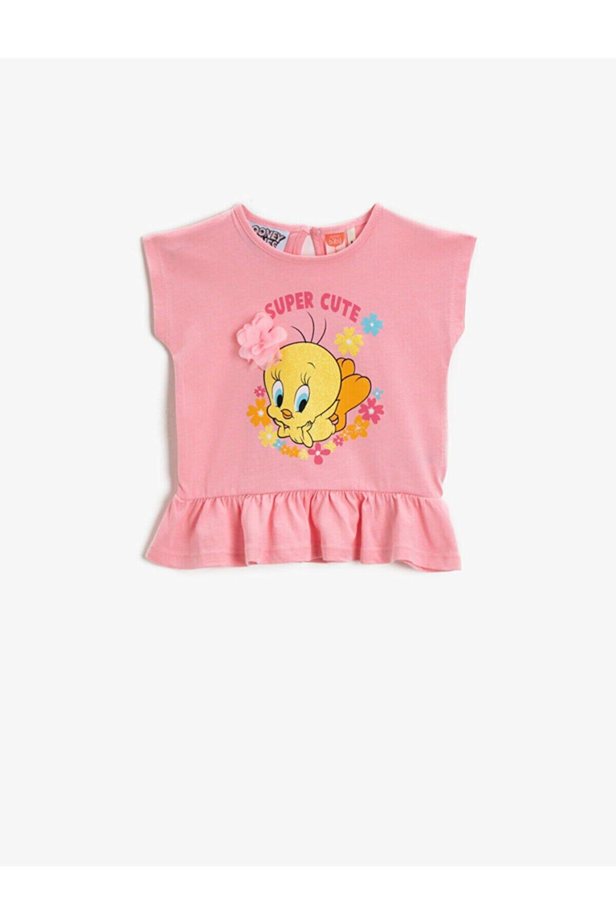 Koton Kız Bebek Tweety Tisört Firfirli Pamuklu