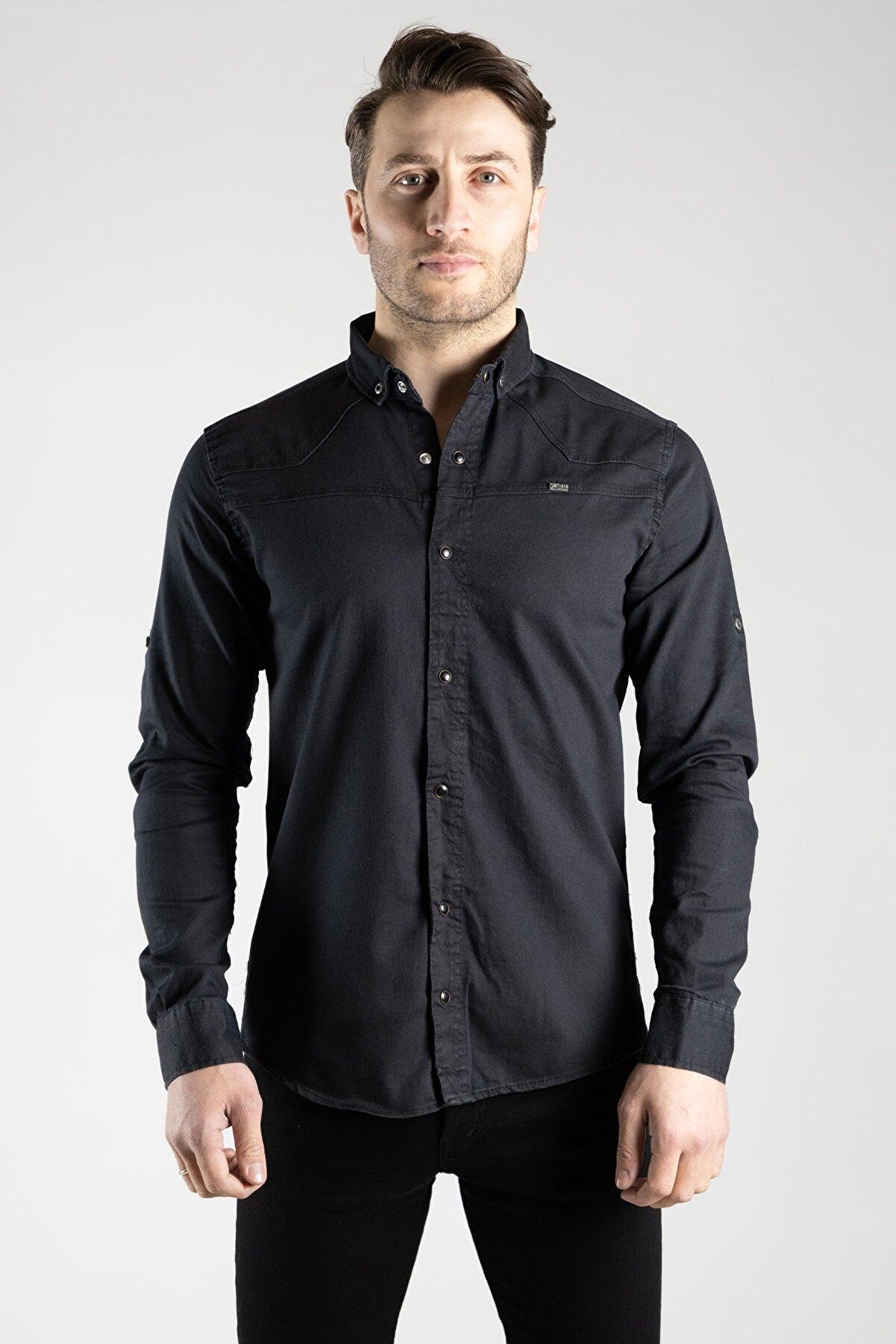 ZEKİ ÖZER Erkek Siyah Kot Gömlek