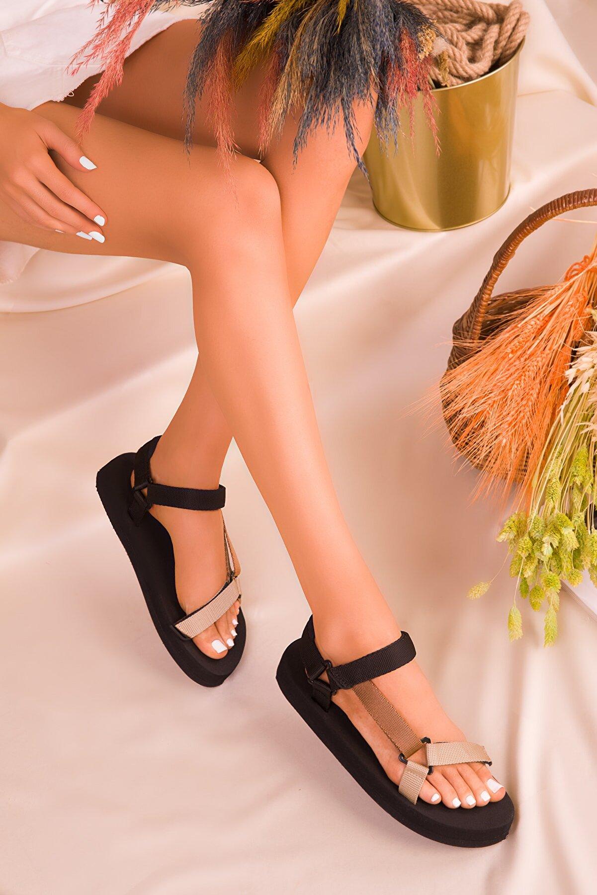 Soho Exclusive Siyah-Vizon-Taba Kadın Sandalet 16280
