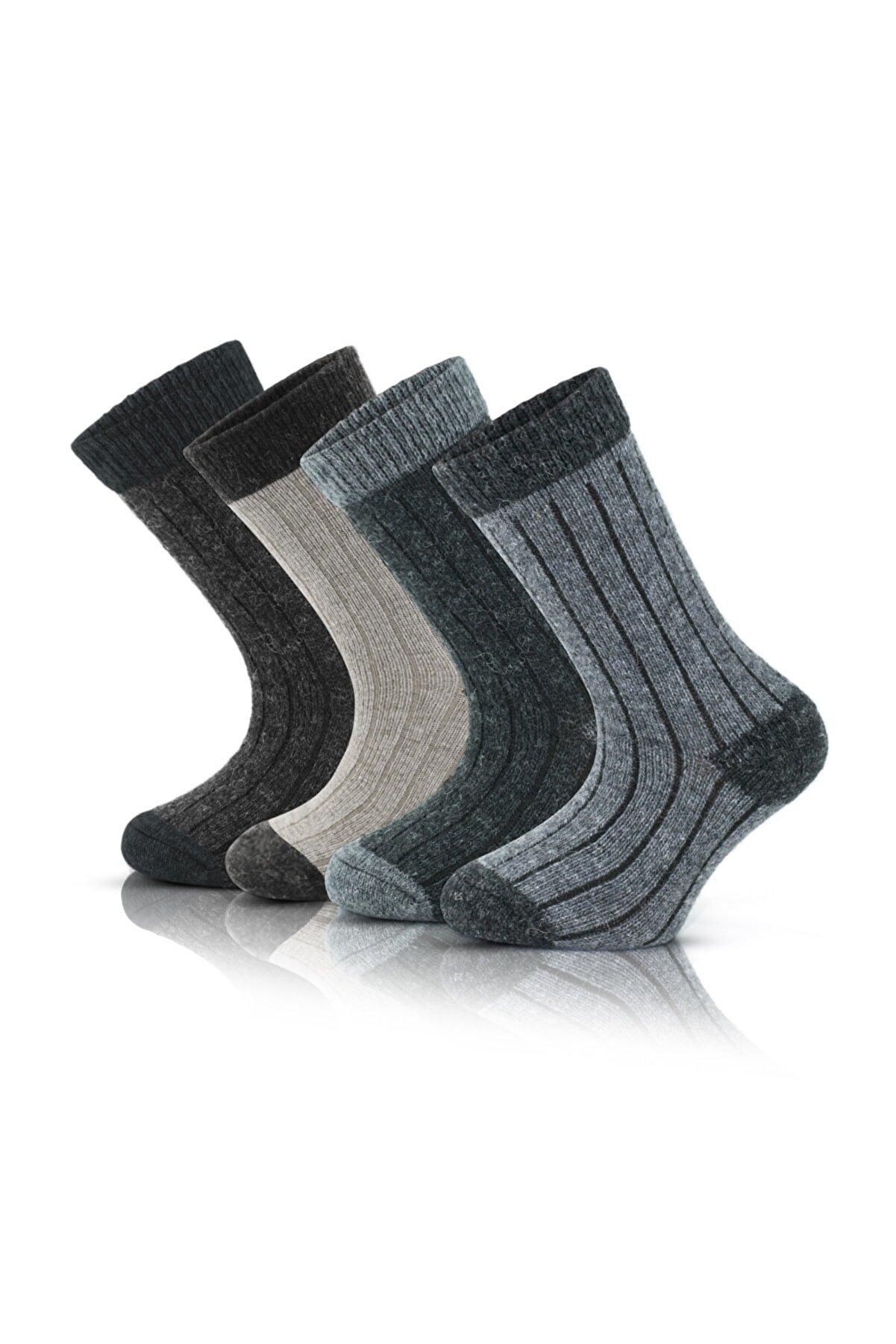 Go With GoWith 4'lü Alpaka Yünlü Yumuşak Yıkamalı Renkli Sağlıklı Kışlık Termal Çocuk Çorabı 1096
