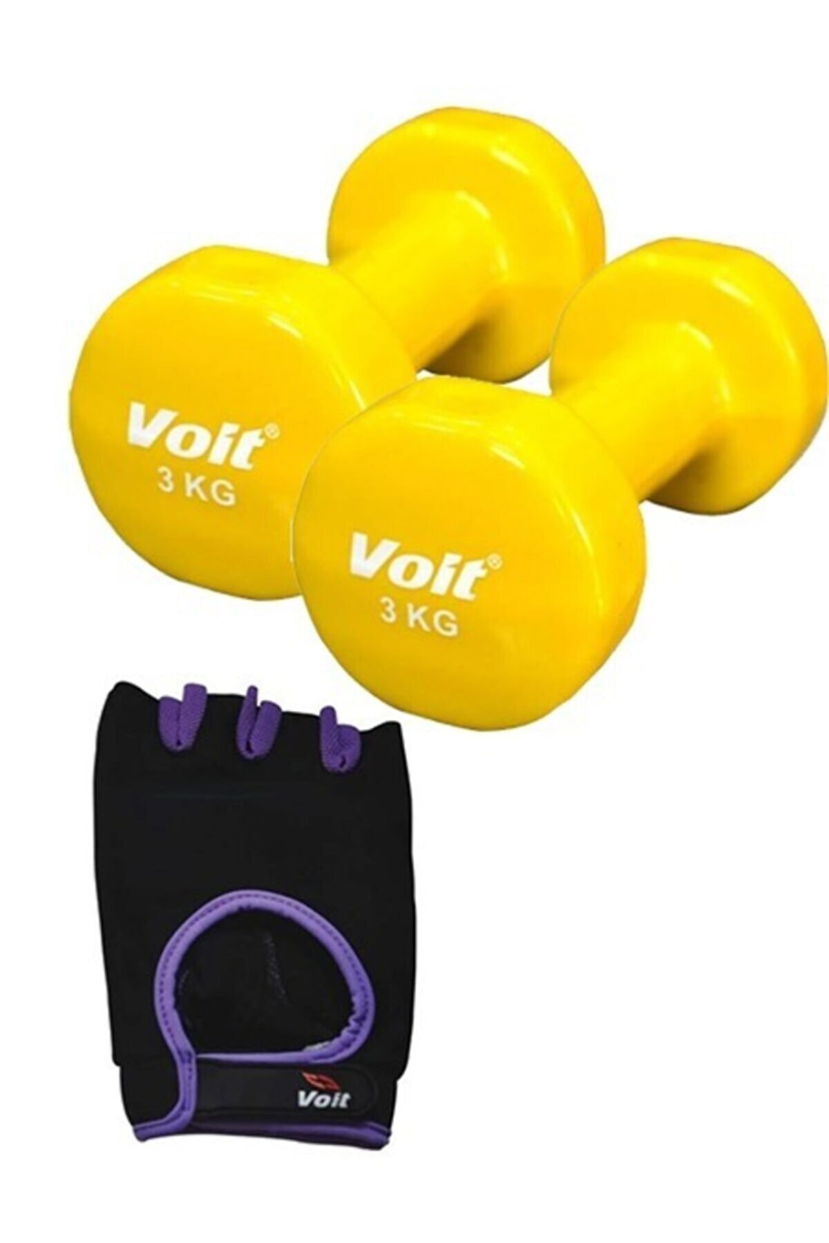 Voit Db107 3kg Sarı Dumbell 2 Adet +1731 Ağırlık Eldiveni Mor