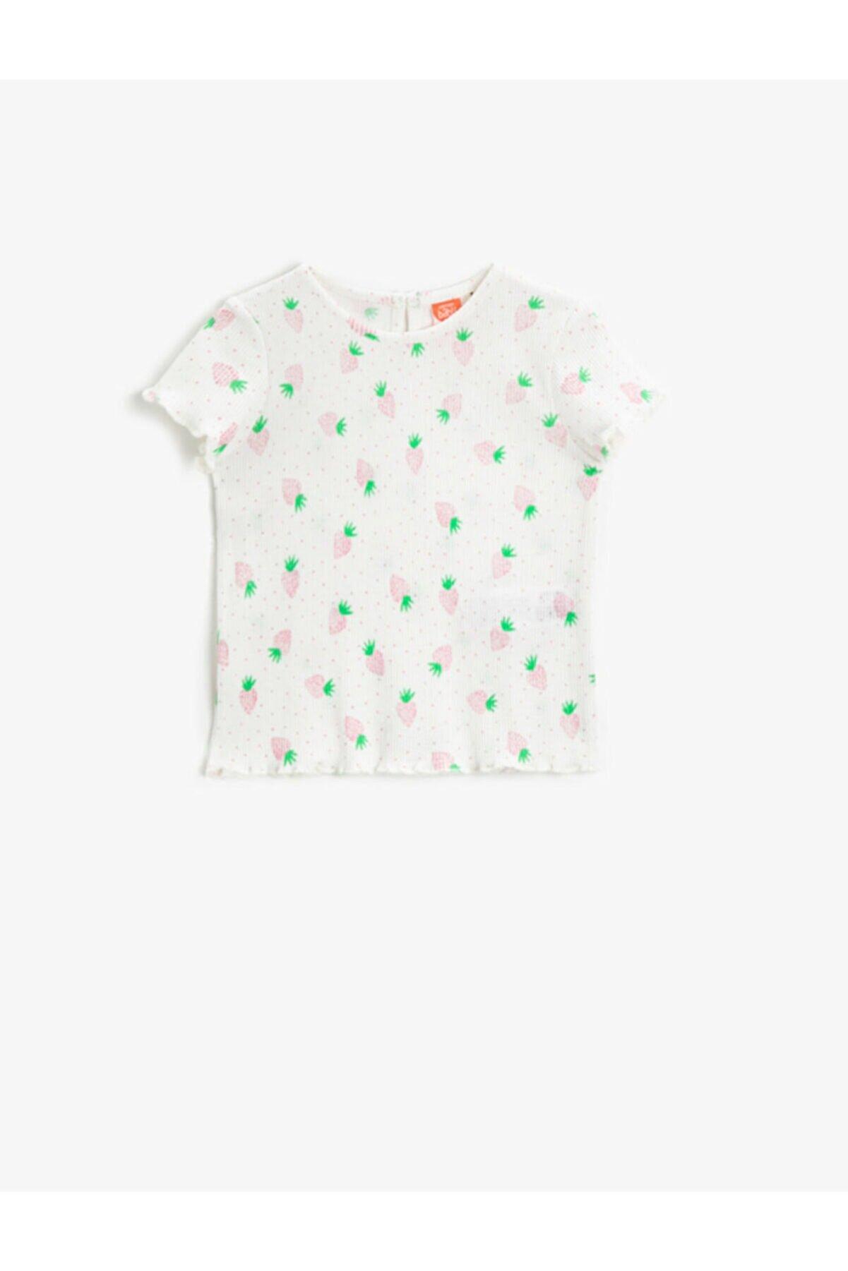 Koton Kız Bebek Ekru Desenli T-Shirt