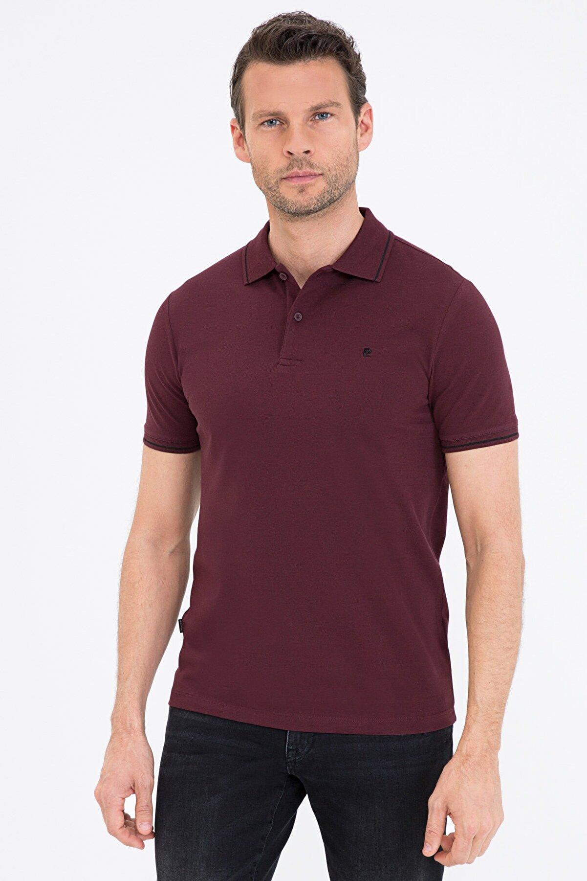 Pierre Cardin Bordo Slim Fit Basic Polo Yaka T-Shirt