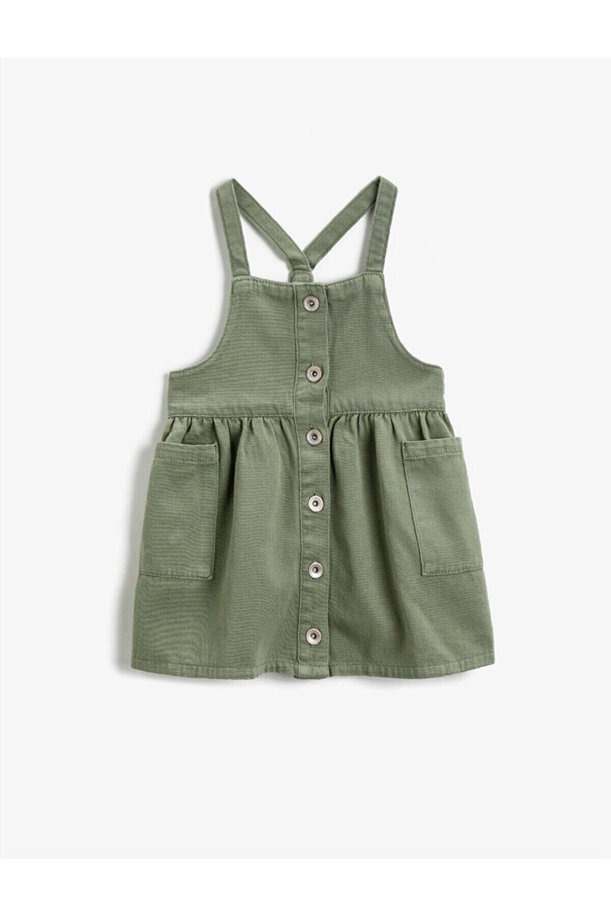 Koton Kız Çocuk Yeşil Düğmeli Askılı Cepli Elbise