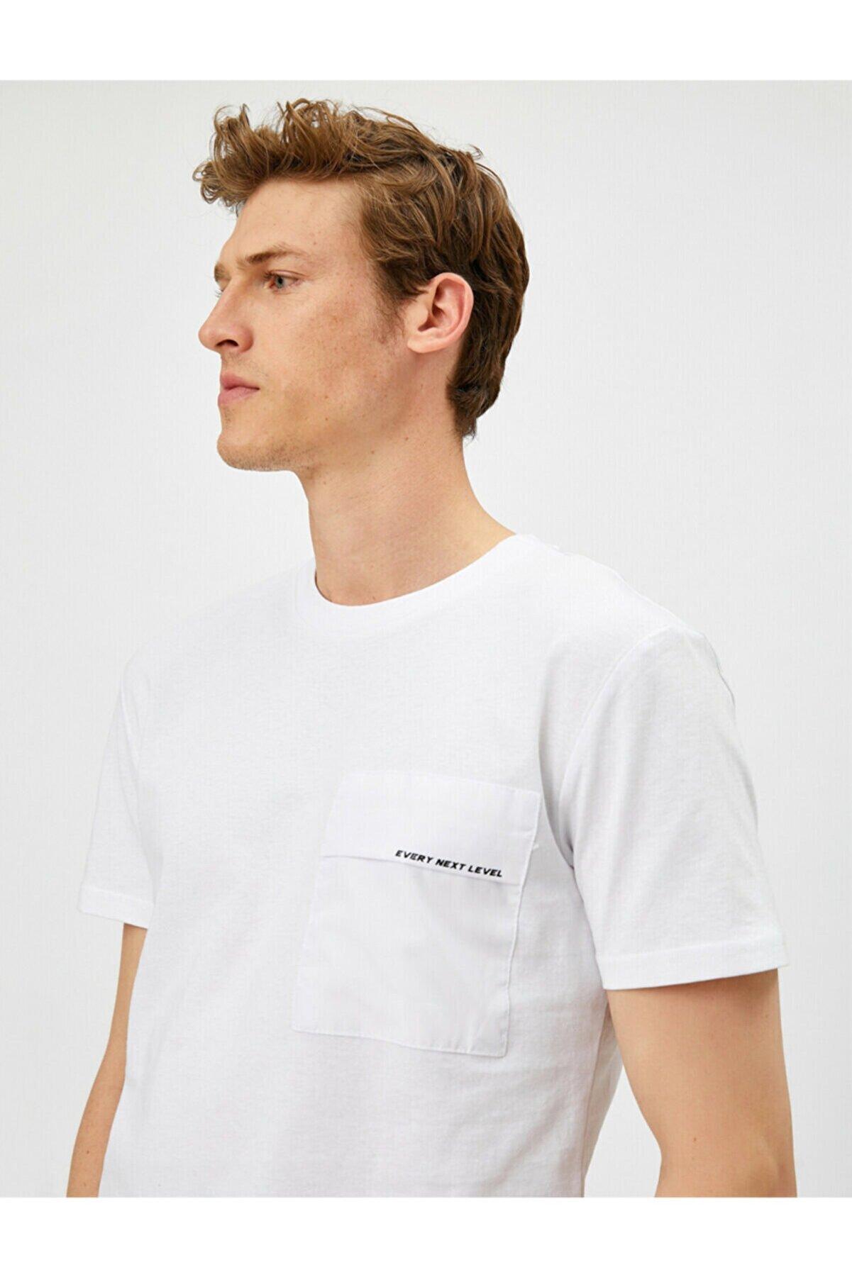 Koton Erkek Yazili Kisa Kollu Pamuklu Bisiklet Yaka T-Shirt