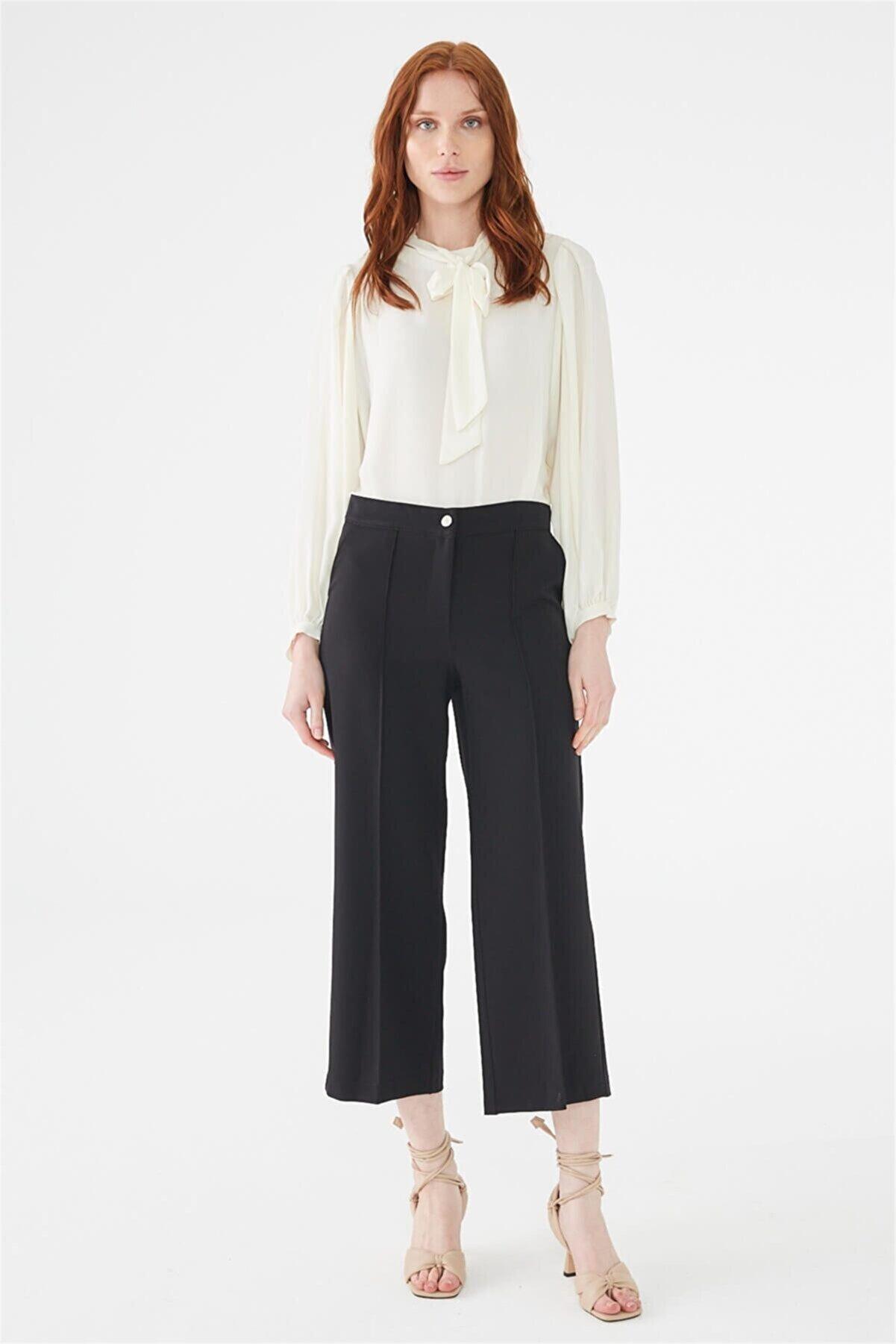 Zühre Kadın Bol Paça Siyah Pantolon