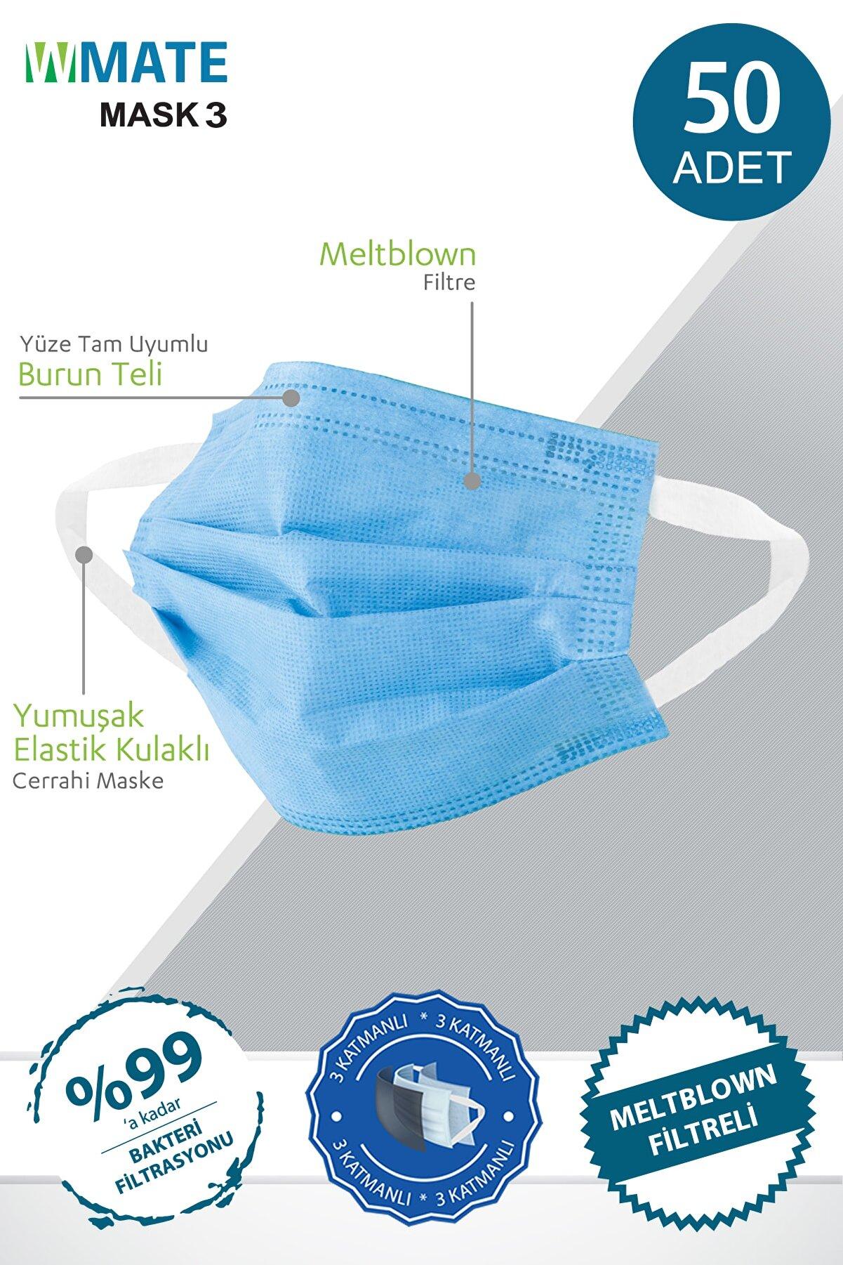 WMATE MASK3 50 Adet Turkuaz Mavi Meltblown Filtreli 3 Katlı Yeni Nesil Maske 10'lu Özel Poşet