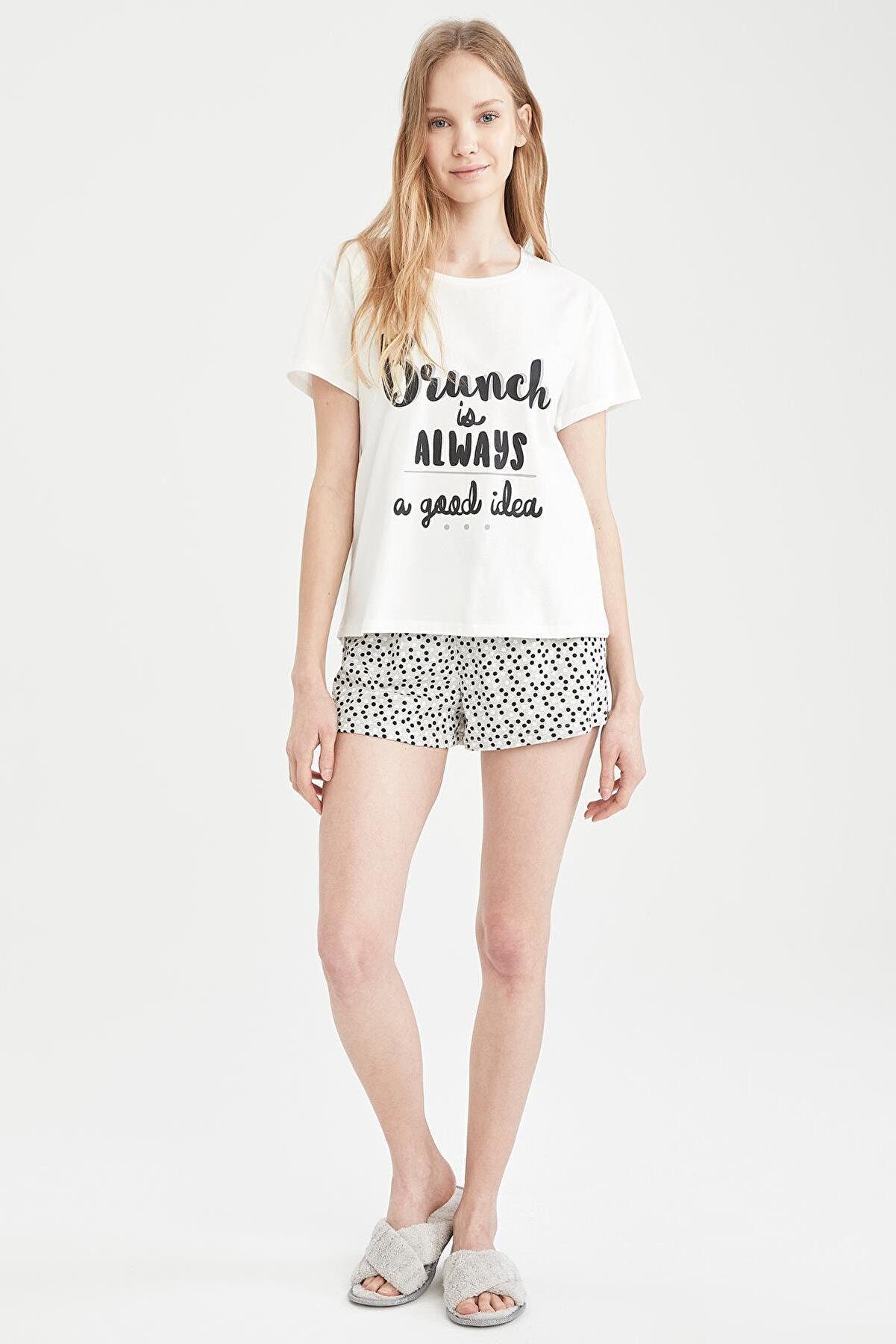 Defacto Slogan Baskılı Kısa Kollu Relax Fit Pijama Takımı