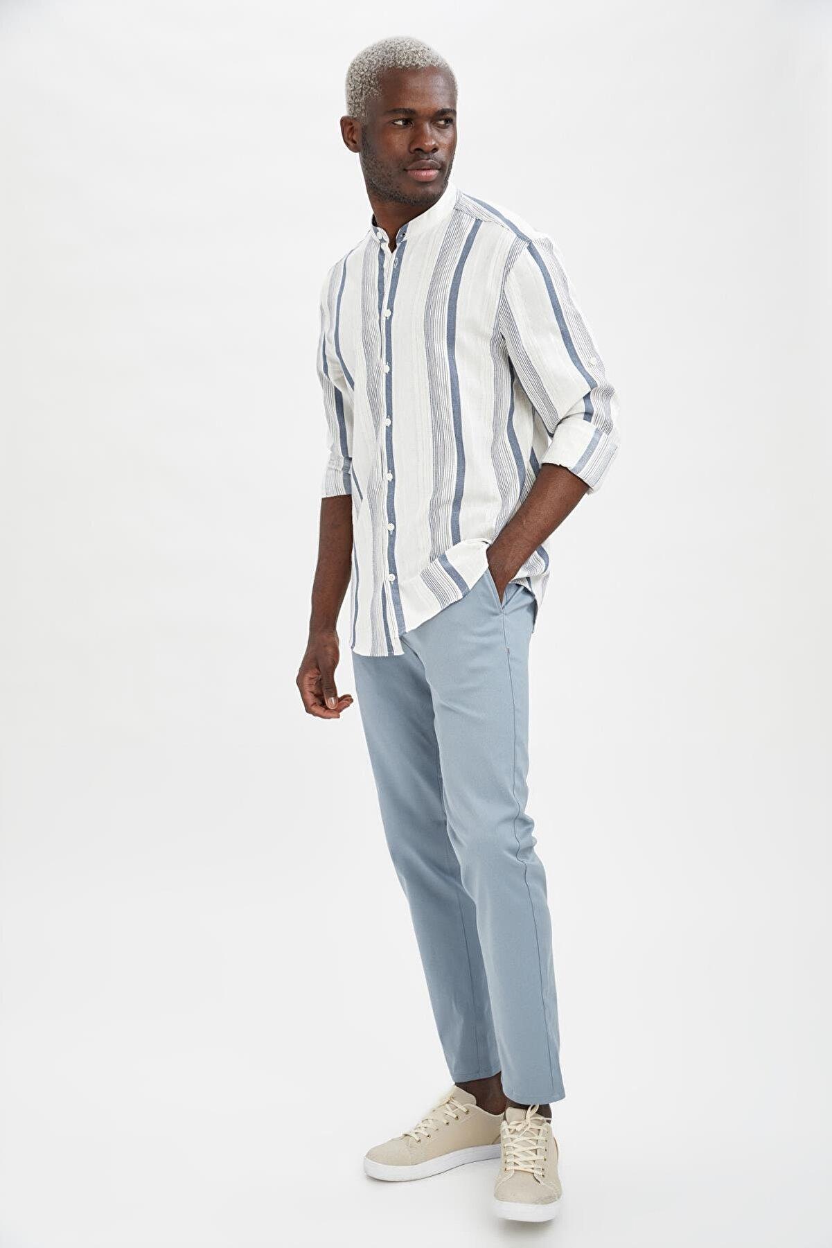 Defacto Erkek Mavi Regular Fit Basic Chino Pantolon