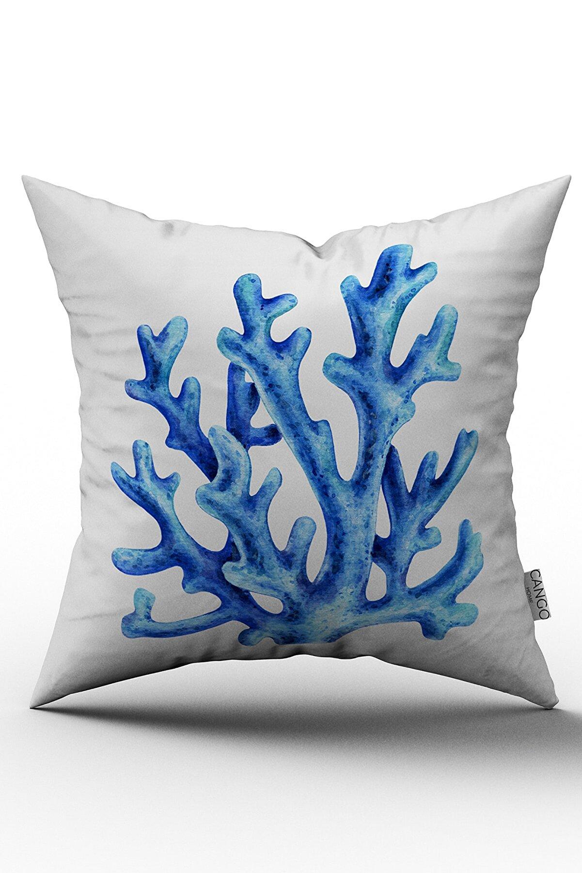 Cango Home Mavi Mercan Yastık Kırlent Kılıfı 484