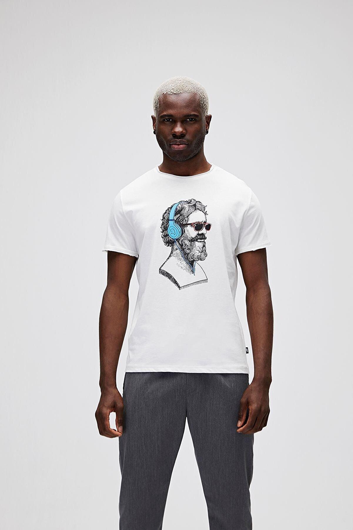 Bad Bear Erkek Beyaz Baskılı T-Shirt
