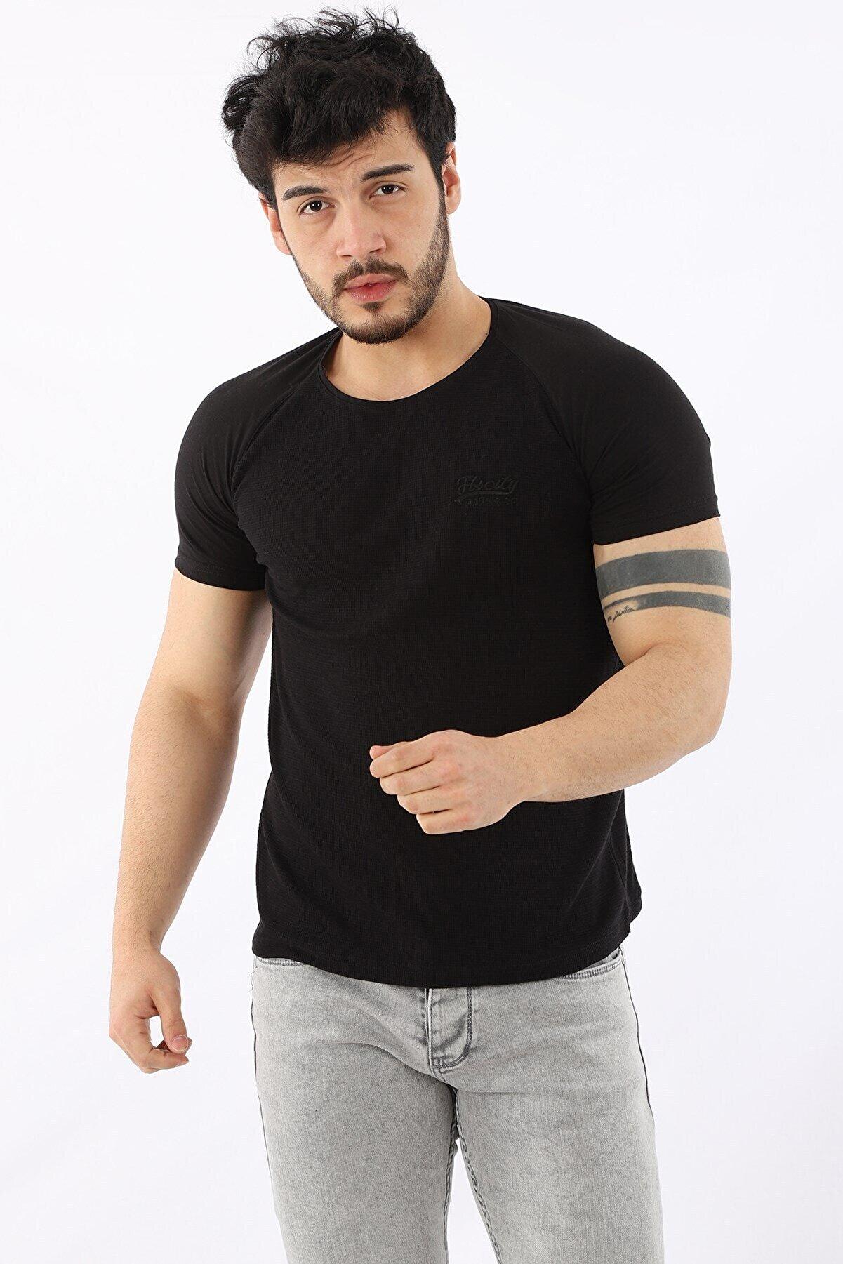 Arlin Erkek Bisiklet Yaka Düz Kısa Kollu Slim Fit Siyah T-shirt