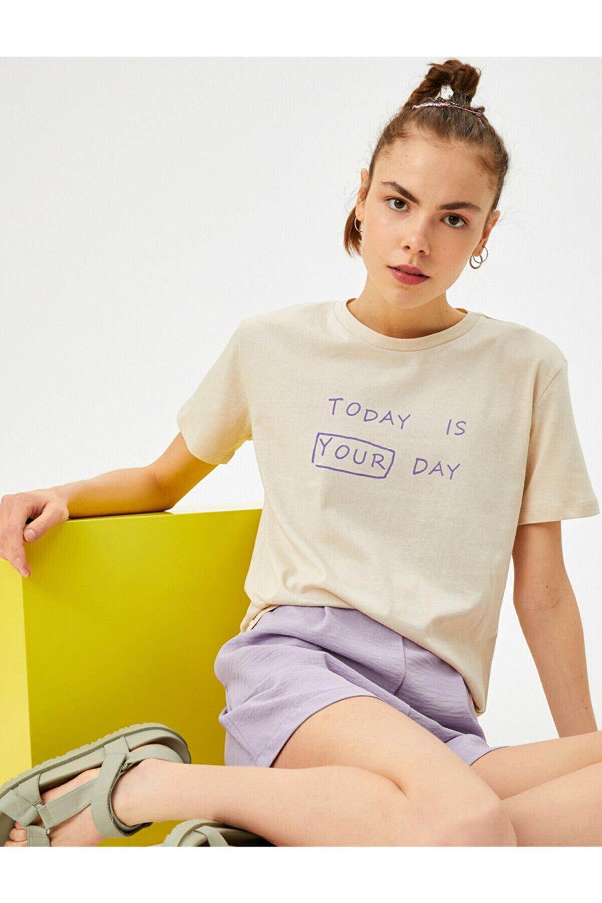 Koton Kadın Ekru Bisiklet Yaka Pamuklu T-Shirt