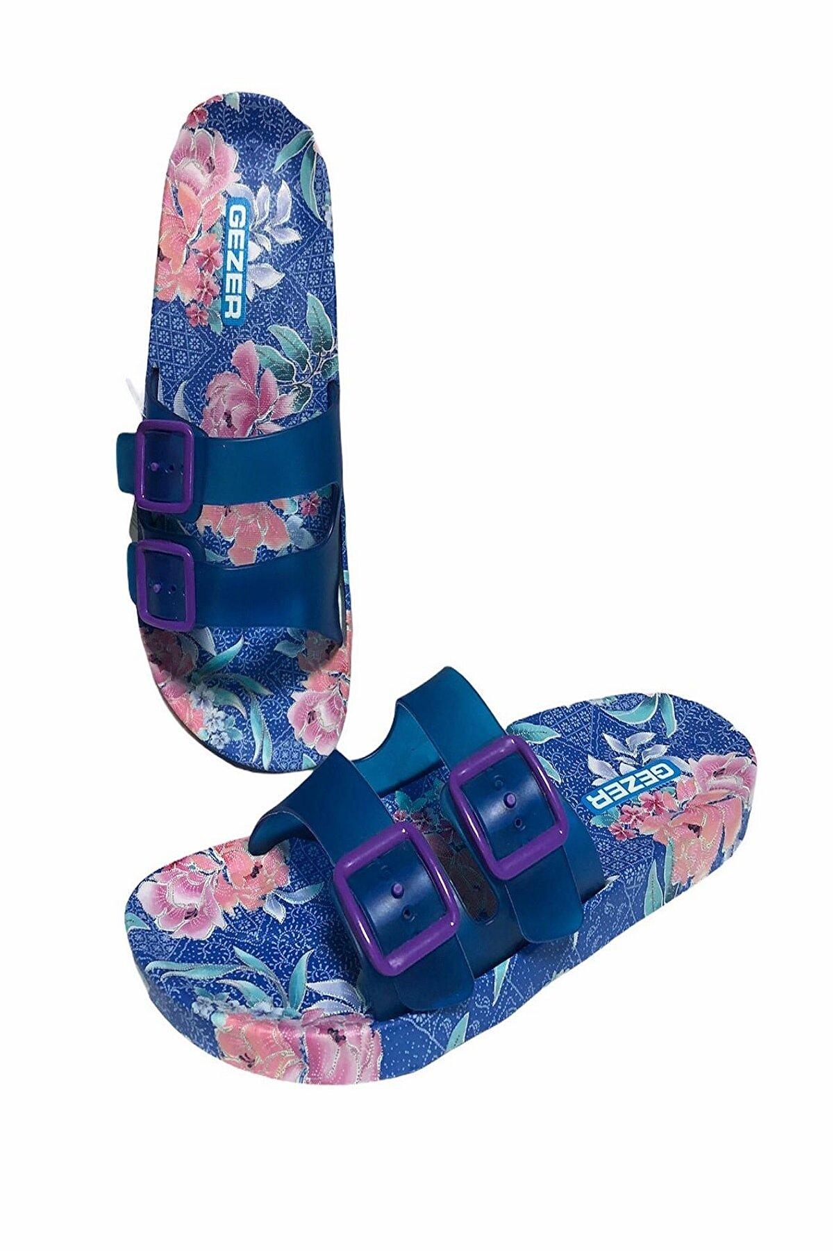 Gezer Kadın Çift Toka Kaydırmaz Taban Havuz Plaj Banyo Ve Outdoor Terlik- Altın Adım Ayakkabı