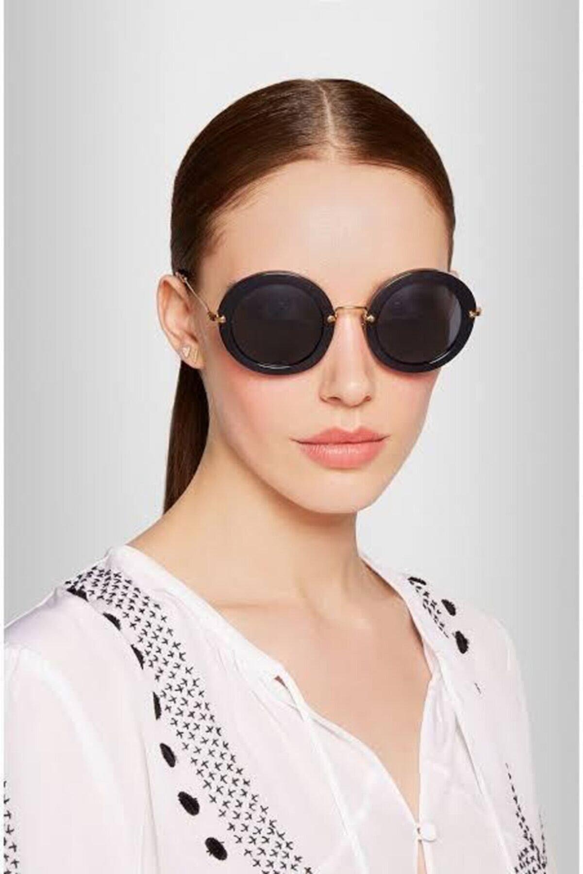 HemenALbence Mi Yuvarlak Kadın Siyah Güneş Gözlüğü