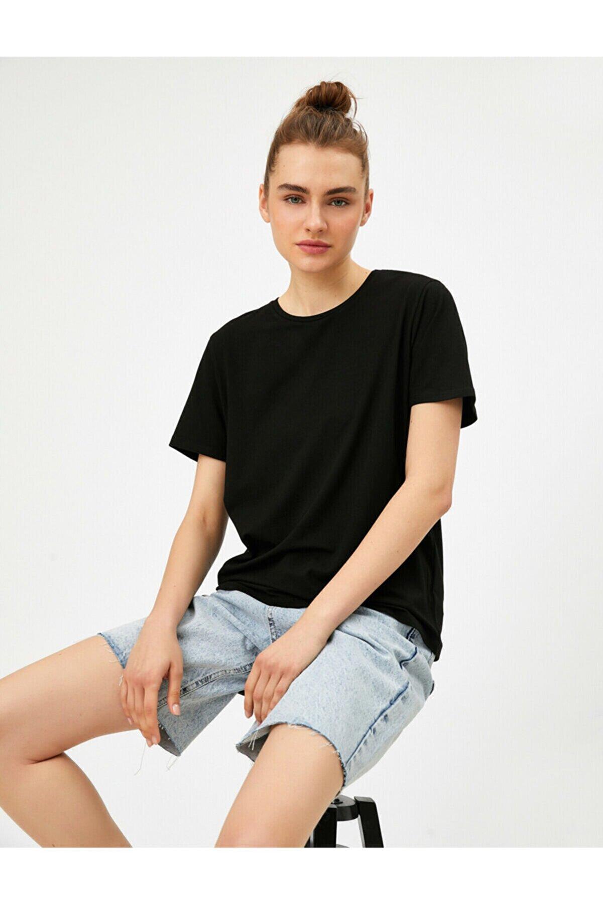 Koton Kadın Siyah Oversize T-Shirt