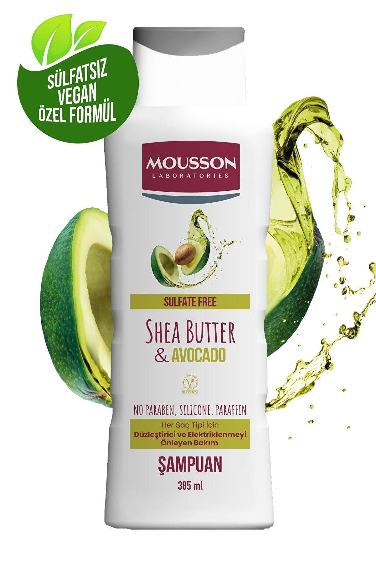 Mousson Shea Yağı & Avokado İçeren Duzleştirici ve Elektriklenmeyi Önleyen Sülfatsız Şampuan 385 ml