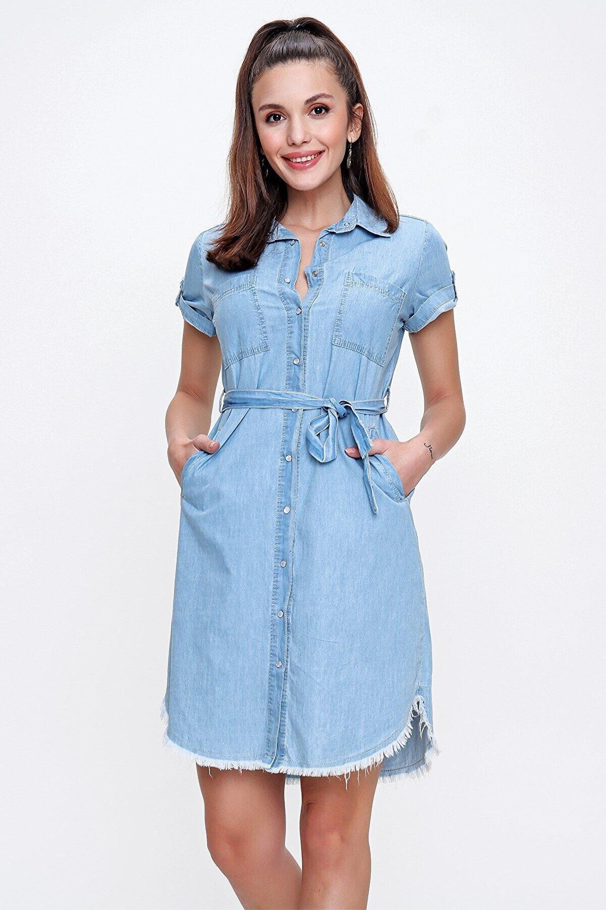 By Saygı Önü Çıtçıtlı Eteği Püskül Cepli Kuşaklı Kot Elbise A.mavi