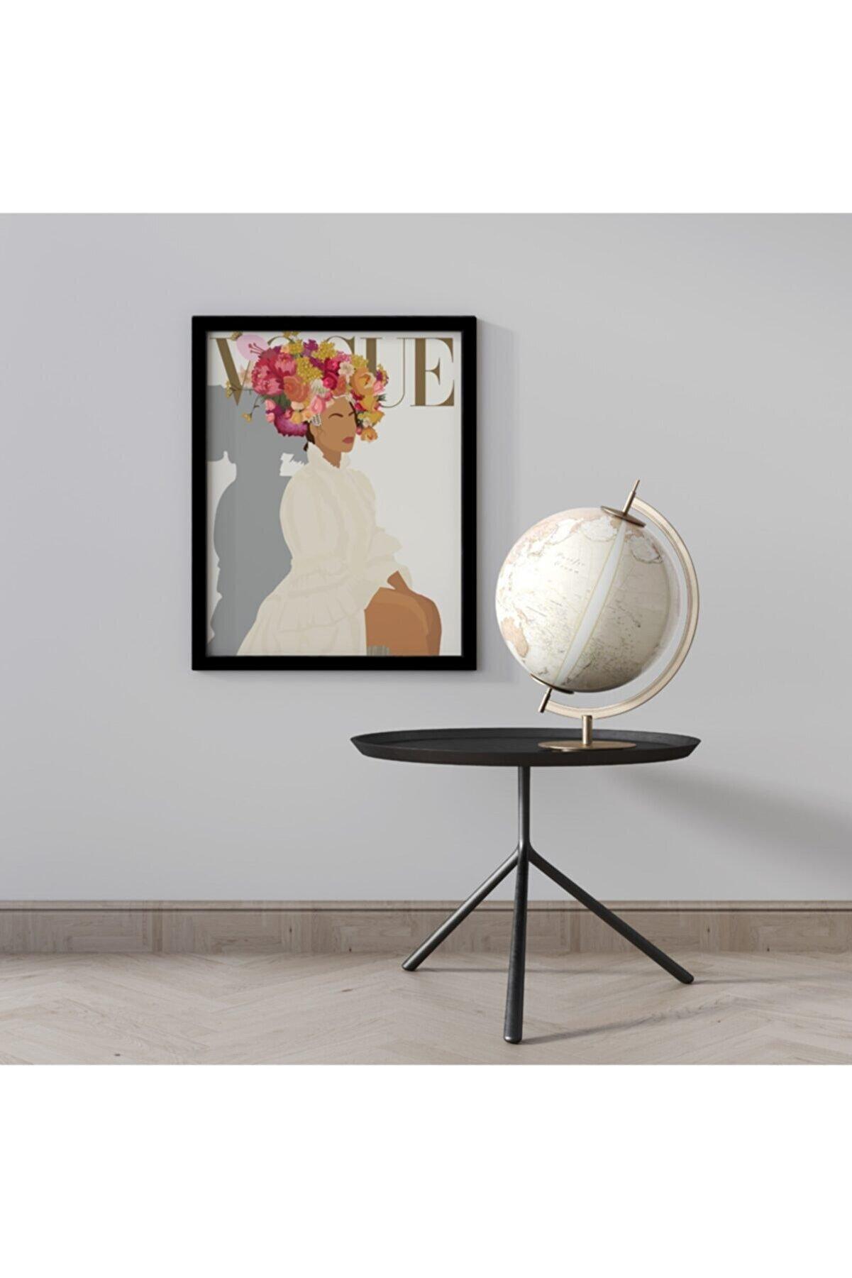 KONSEPT ART Vogue Woman Siyah Ahşap Çerçeveli Sanatsal Exhibition Tablo