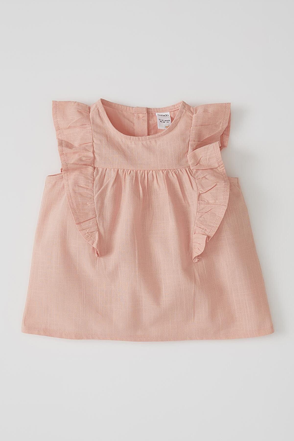 Defacto Kız Bebek Kolsuz Basic Pamuklu Gömlek