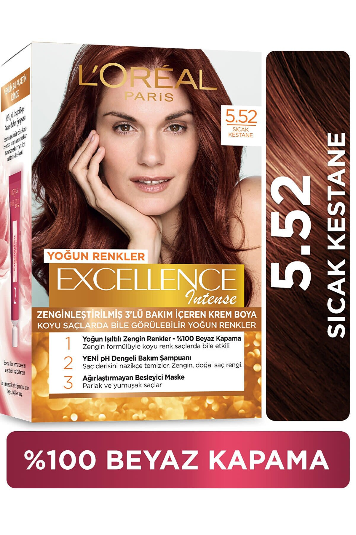 L'Oreal Paris Excellence Intense Saç Boyası 5.52 Sıcak Kestane