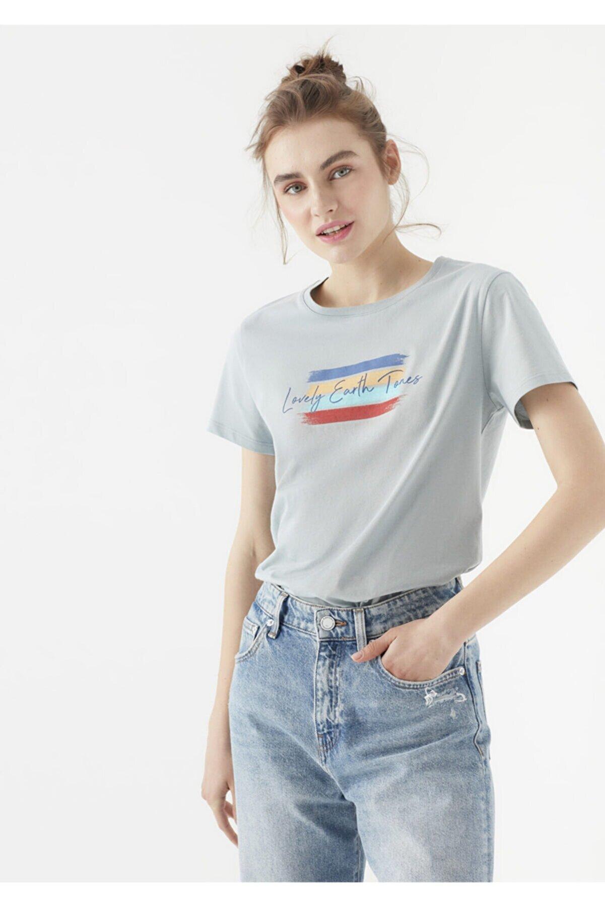 Mavi Lovely Earth Tones Baskılı Gri Tişört 1600718-34080