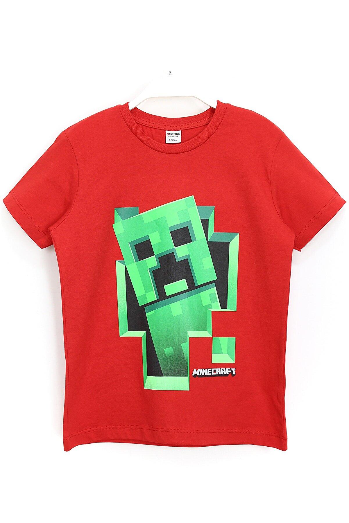 Minecraft Erkek Çocuk Kırmızı Baskılı T-shirt