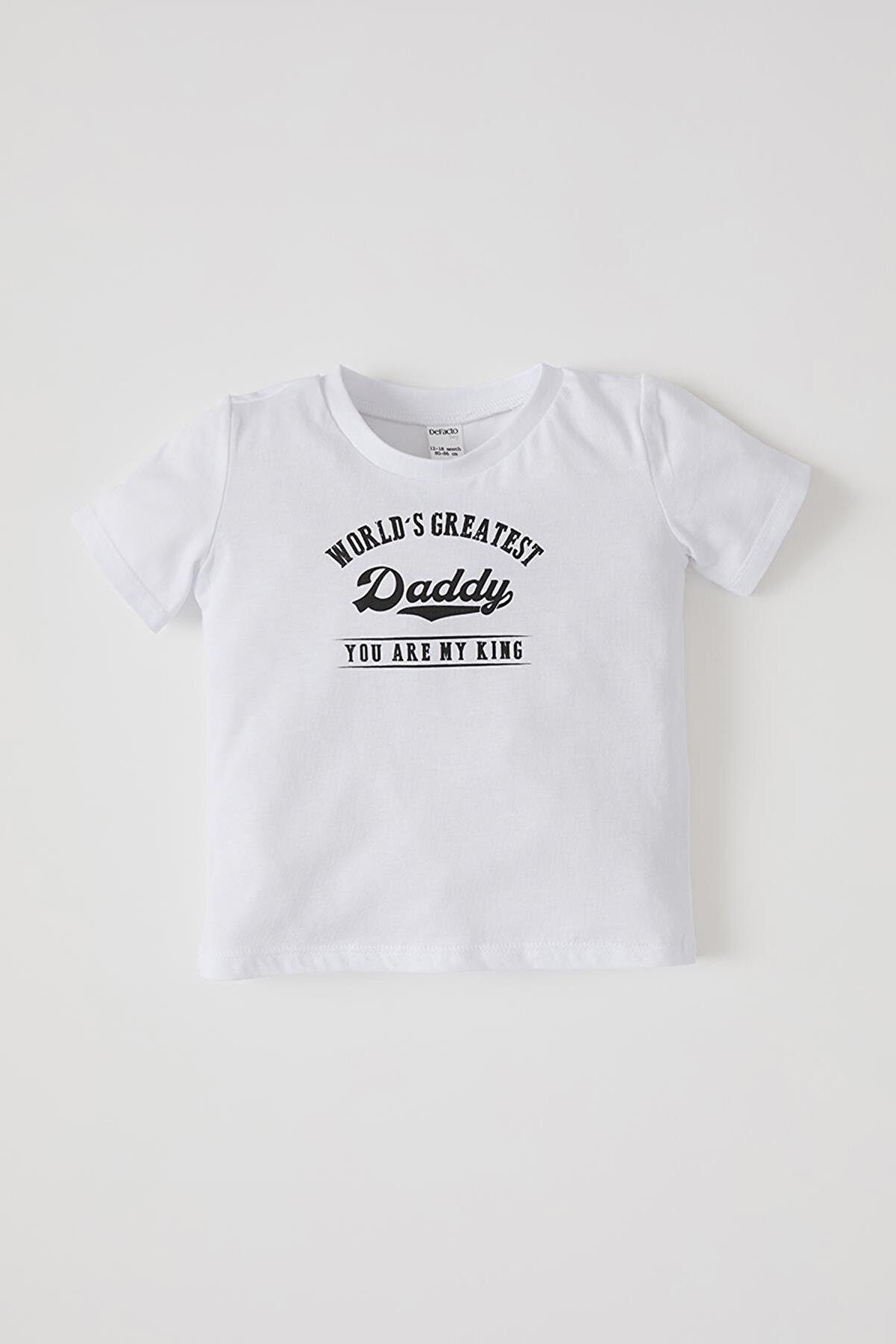 Defacto Unisex Yazı Baskılı Kısa Kollu Pamuklu Tişört
