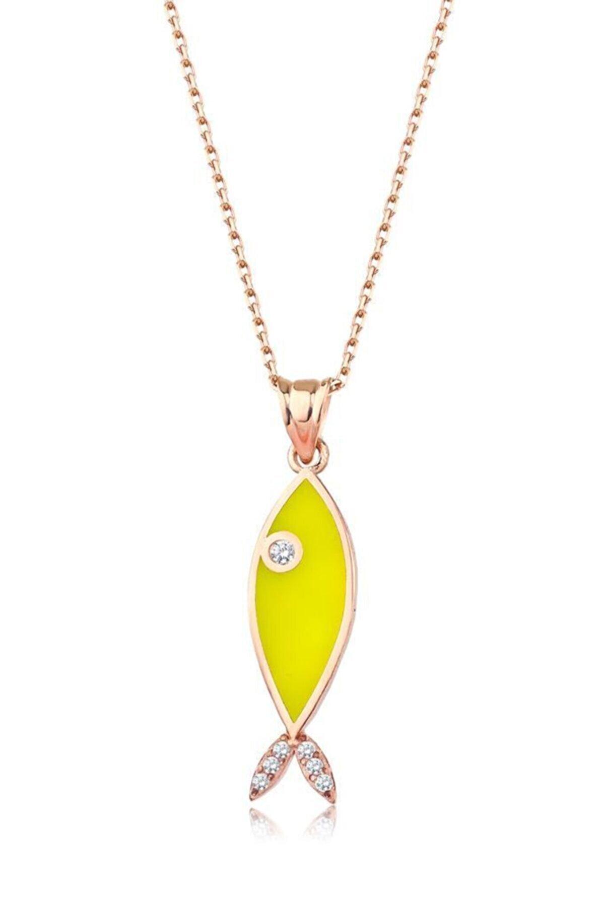 Mai Silver Kadın Neon Sarı Balık Kolye