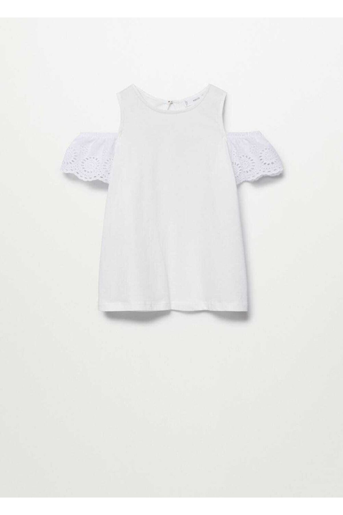 Mango Kız Çocuk Beyaz Omuzları Açık  T-Shirt