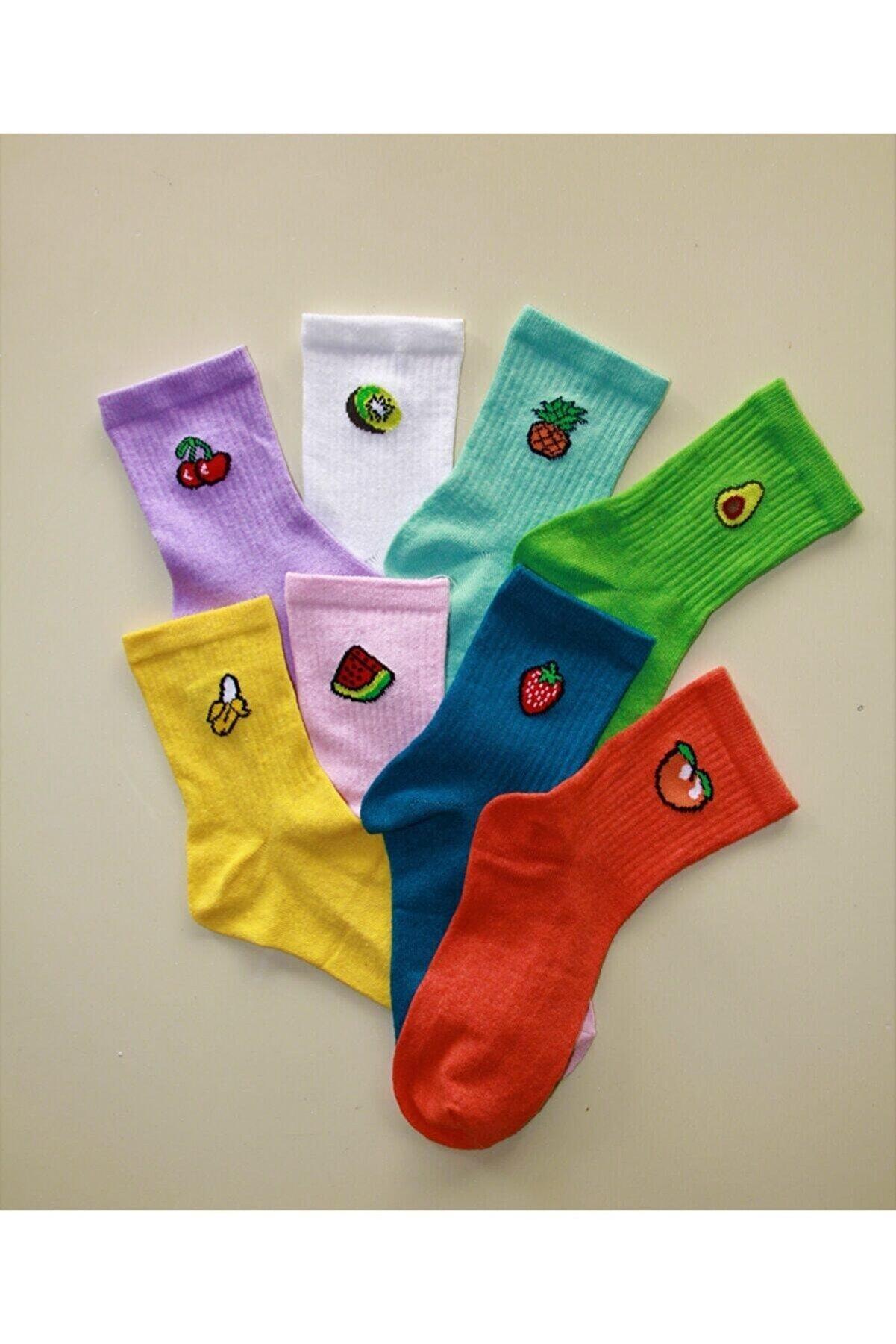 Çoraphane Kadın Renkli Meyveli 8 Çift Kolej Çorap