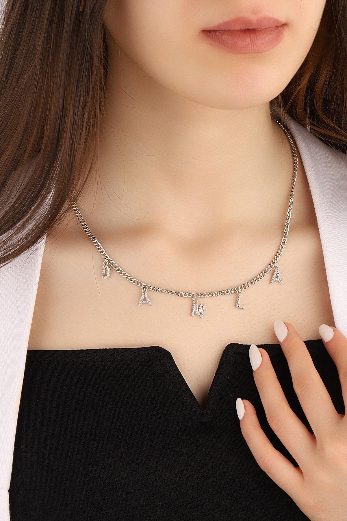 Lia Berto Kadın Gurmet Zincirli 925 Ayar Gümüş Isim Kolye