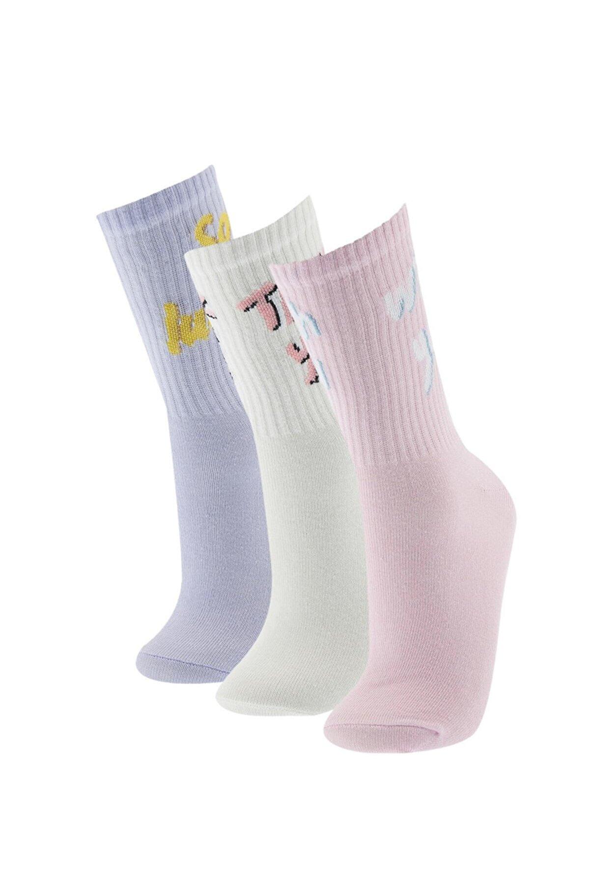 Defacto Kadın Çok Renkli Desenli 3'lü Soket Çorap T7539AZ21SP